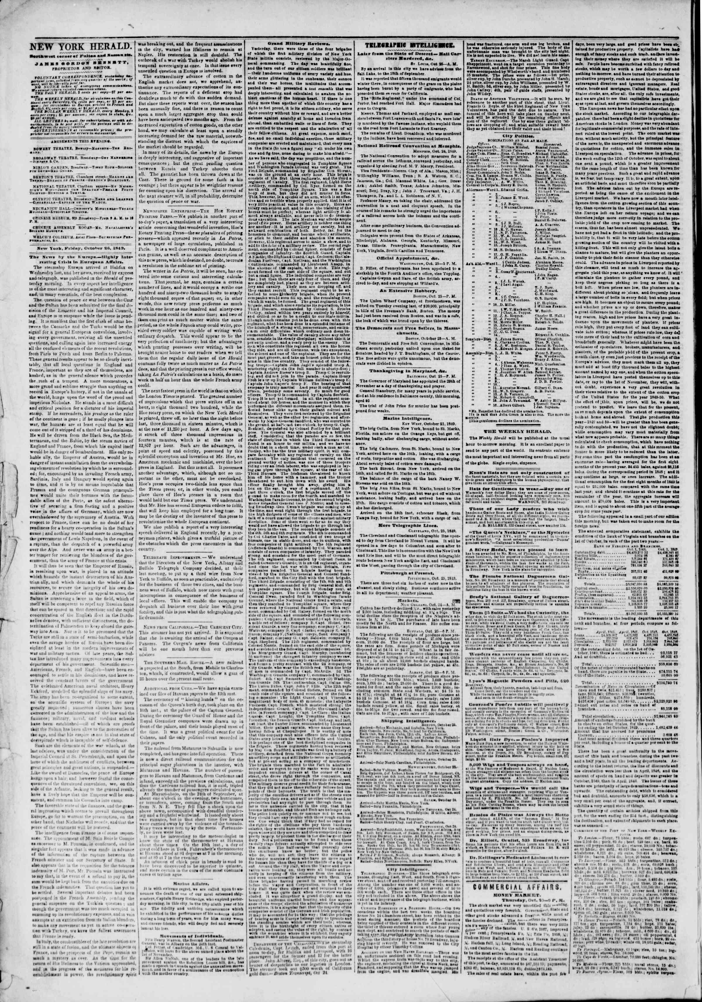 Newspaper of The New York Herald dated October 26, 1849 Page 2