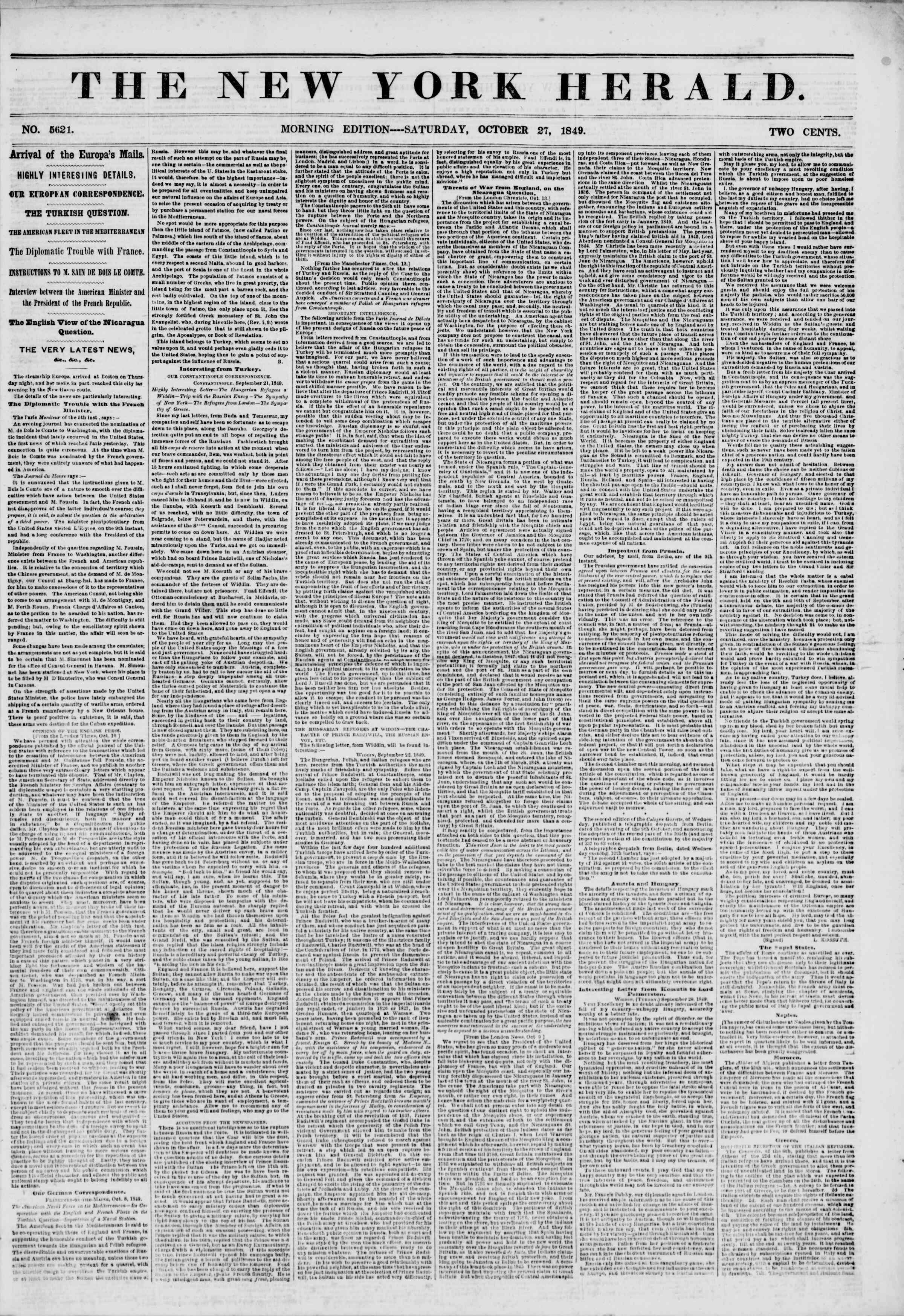 Newspaper of The New York Herald dated October 27, 1849 Page 1