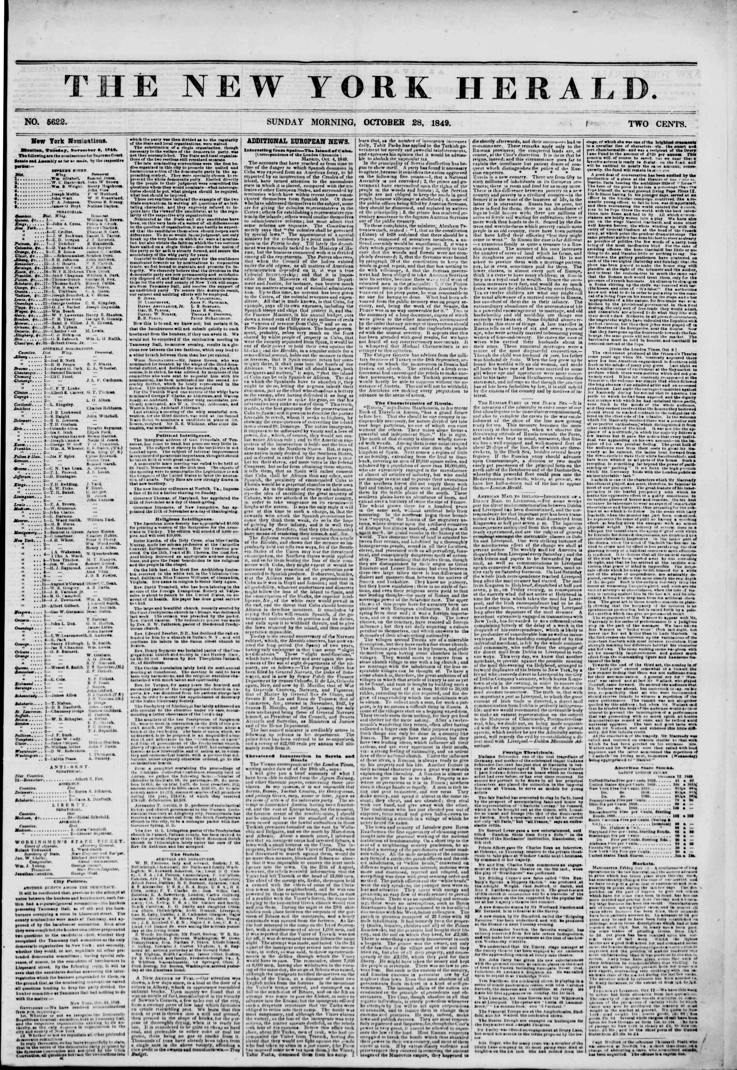 Newspaper of The New York Herald dated October 28, 1849 Page 1