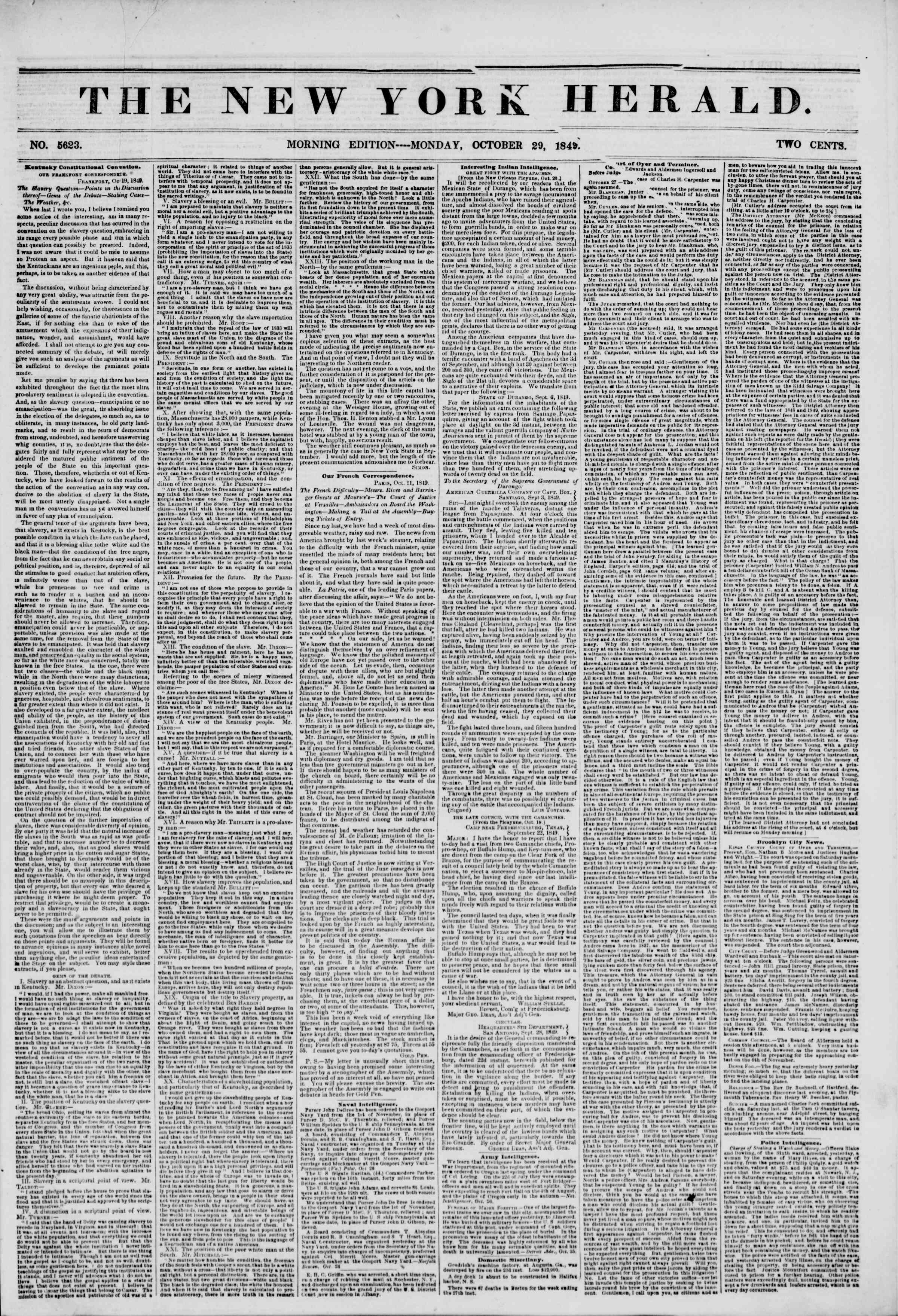 Newspaper of The New York Herald dated October 29, 1849 Page 1