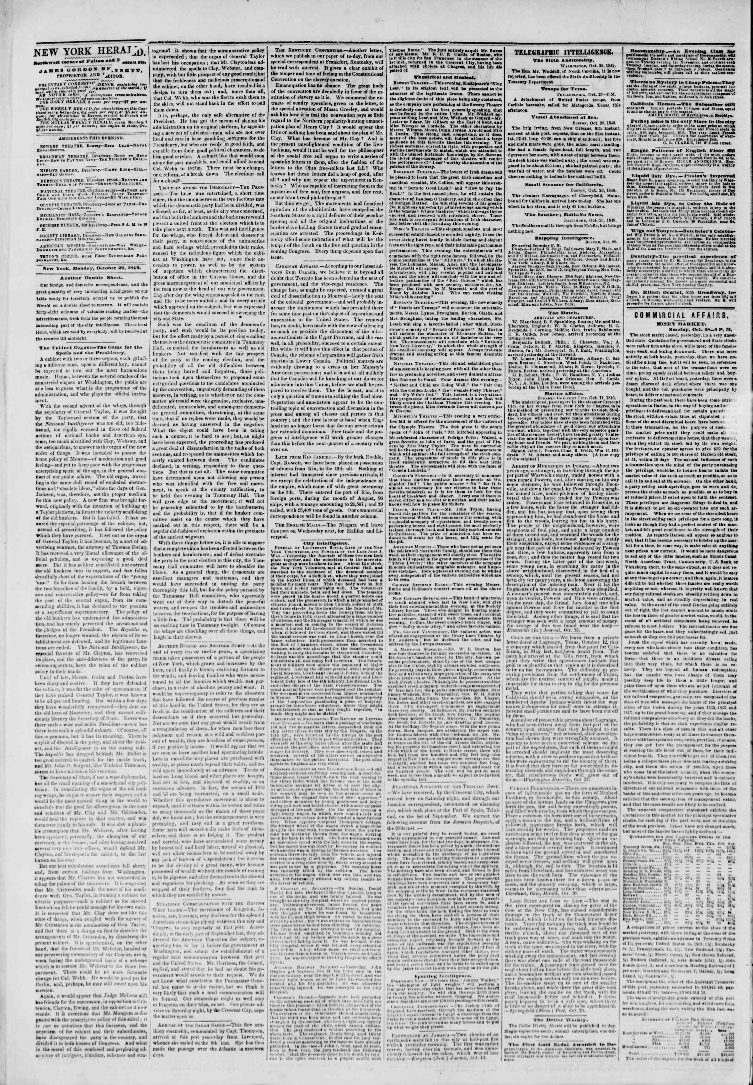 Newspaper of The New York Herald dated October 29, 1849 Page 2