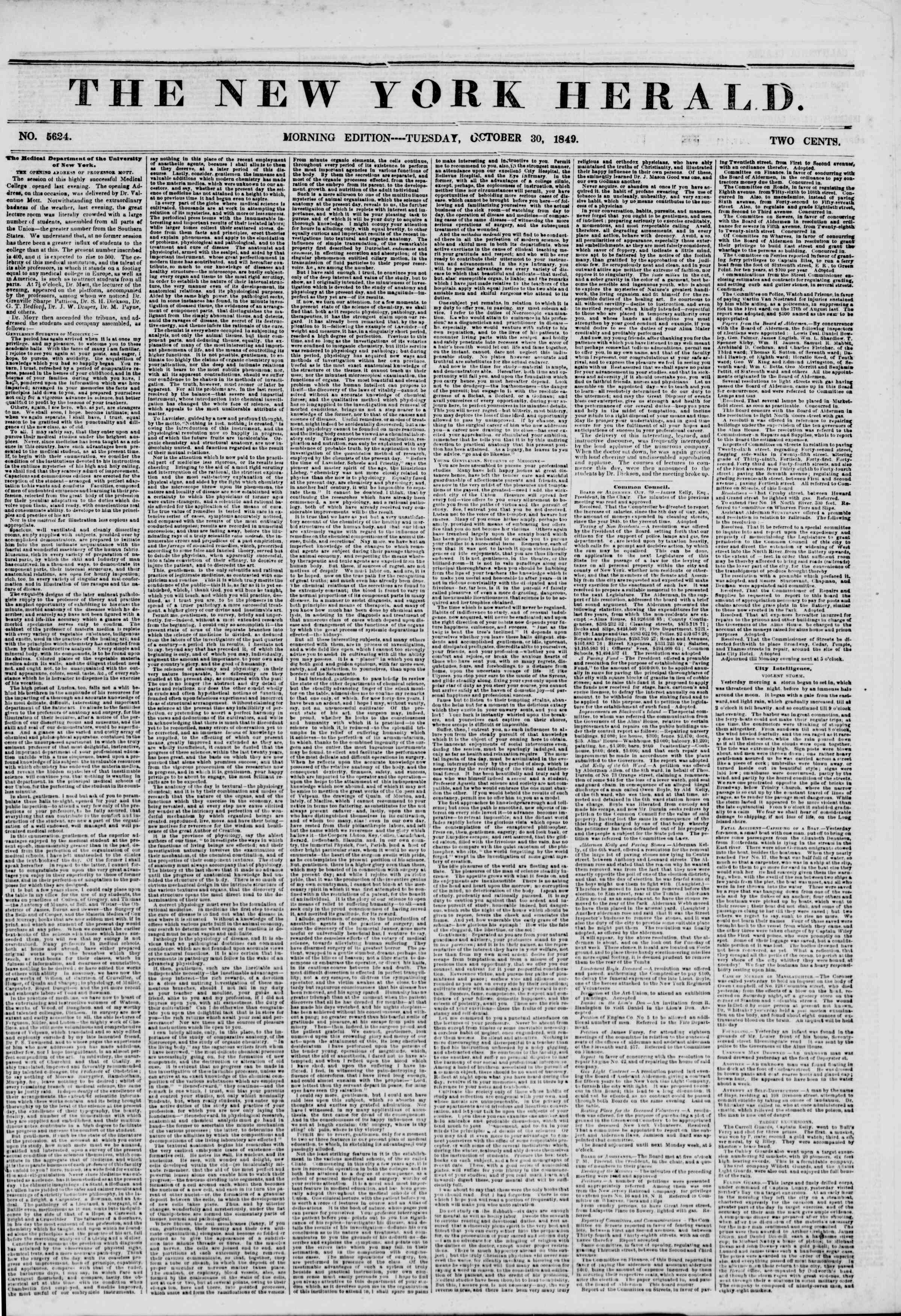 Newspaper of The New York Herald dated October 30, 1849 Page 1