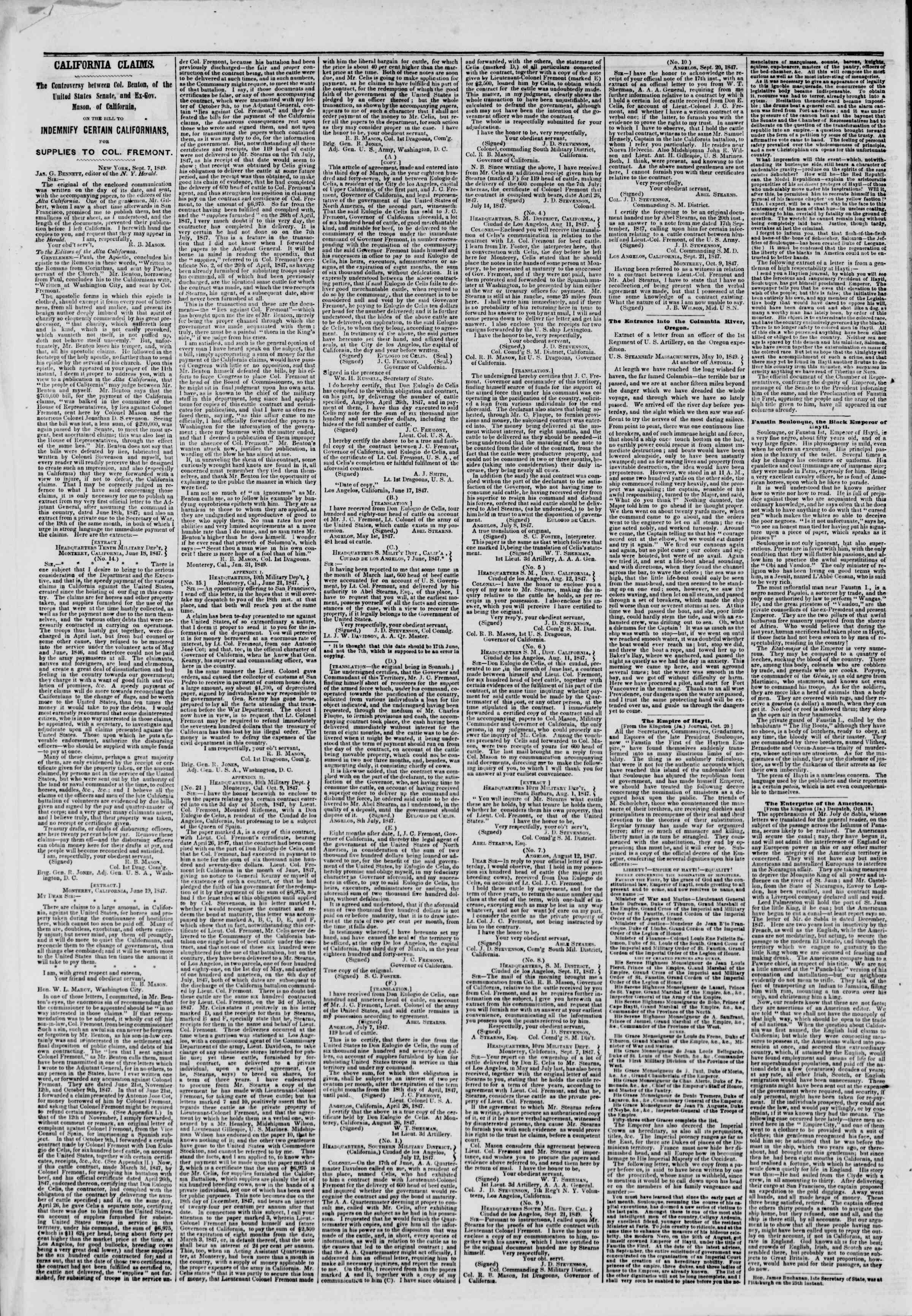 Newspaper of The New York Herald dated October 30, 1849 Page 2