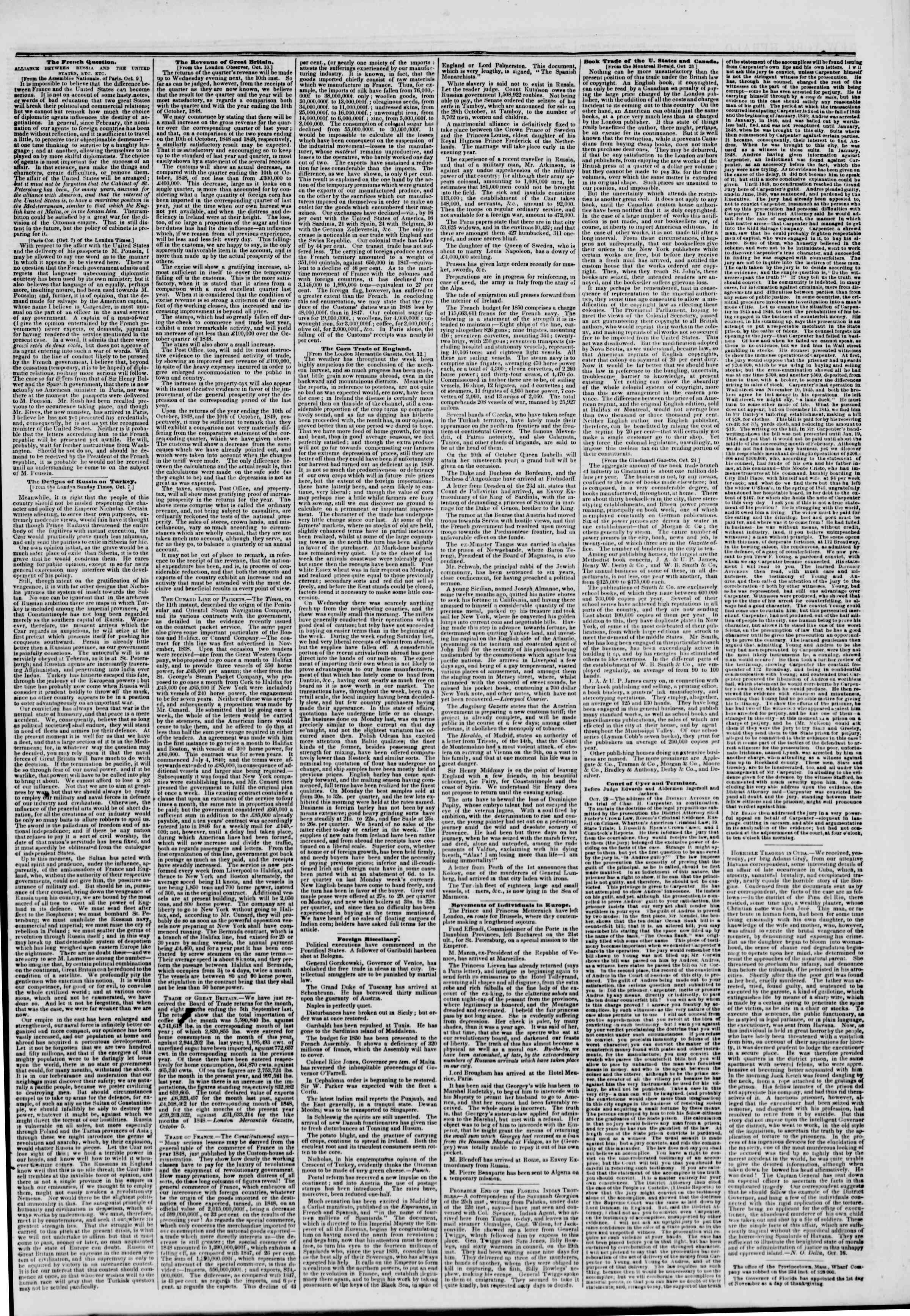 Newspaper of The New York Herald dated October 30, 1849 Page 3