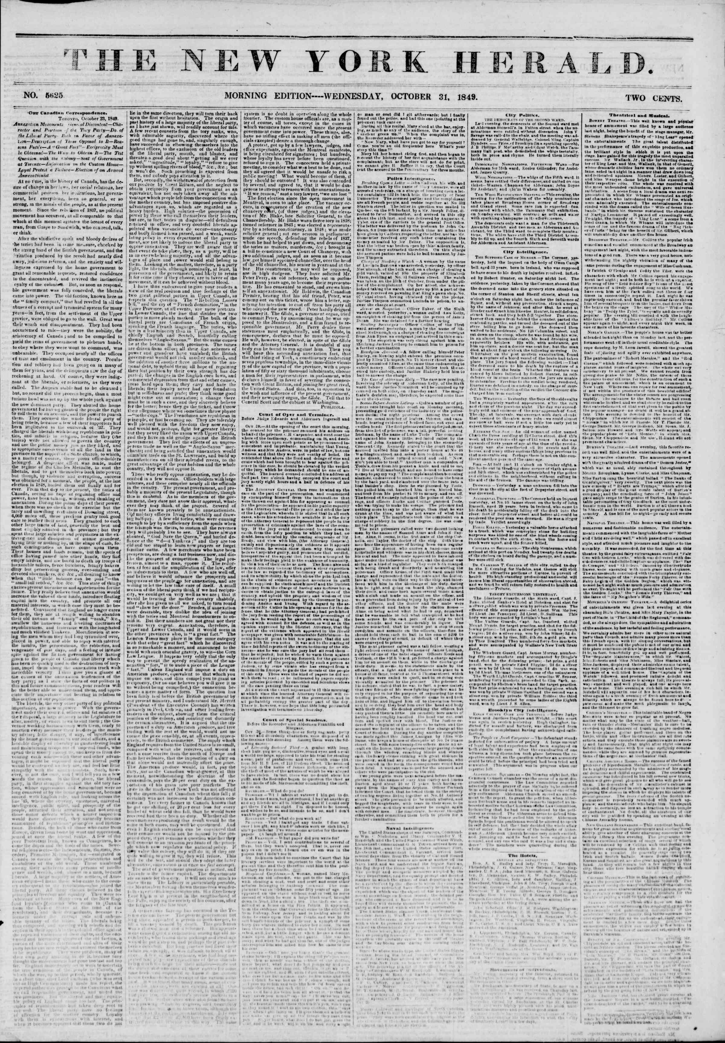 Newspaper of The New York Herald dated October 31, 1849 Page 1