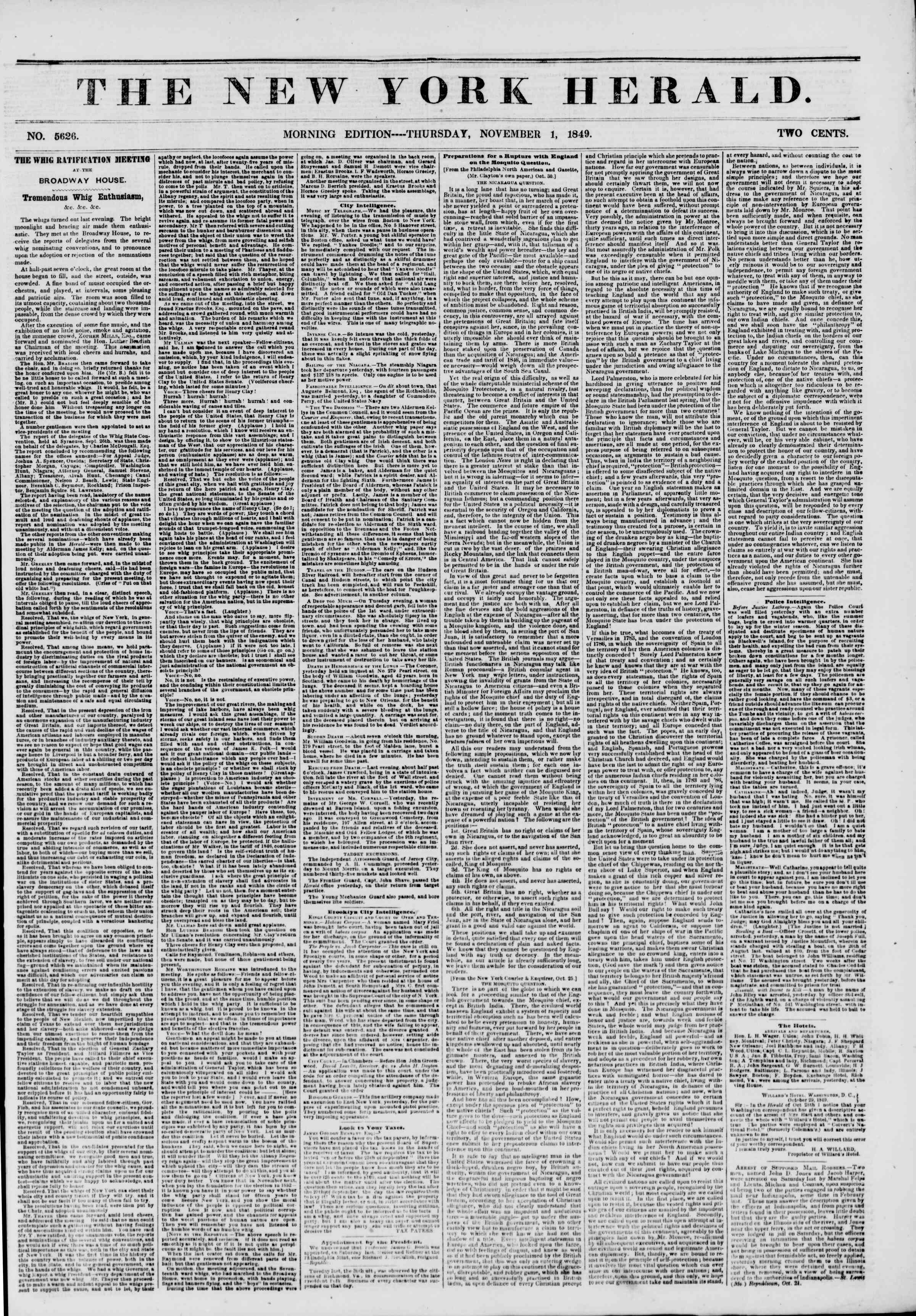 Newspaper of The New York Herald dated November 1, 1849 Page 1