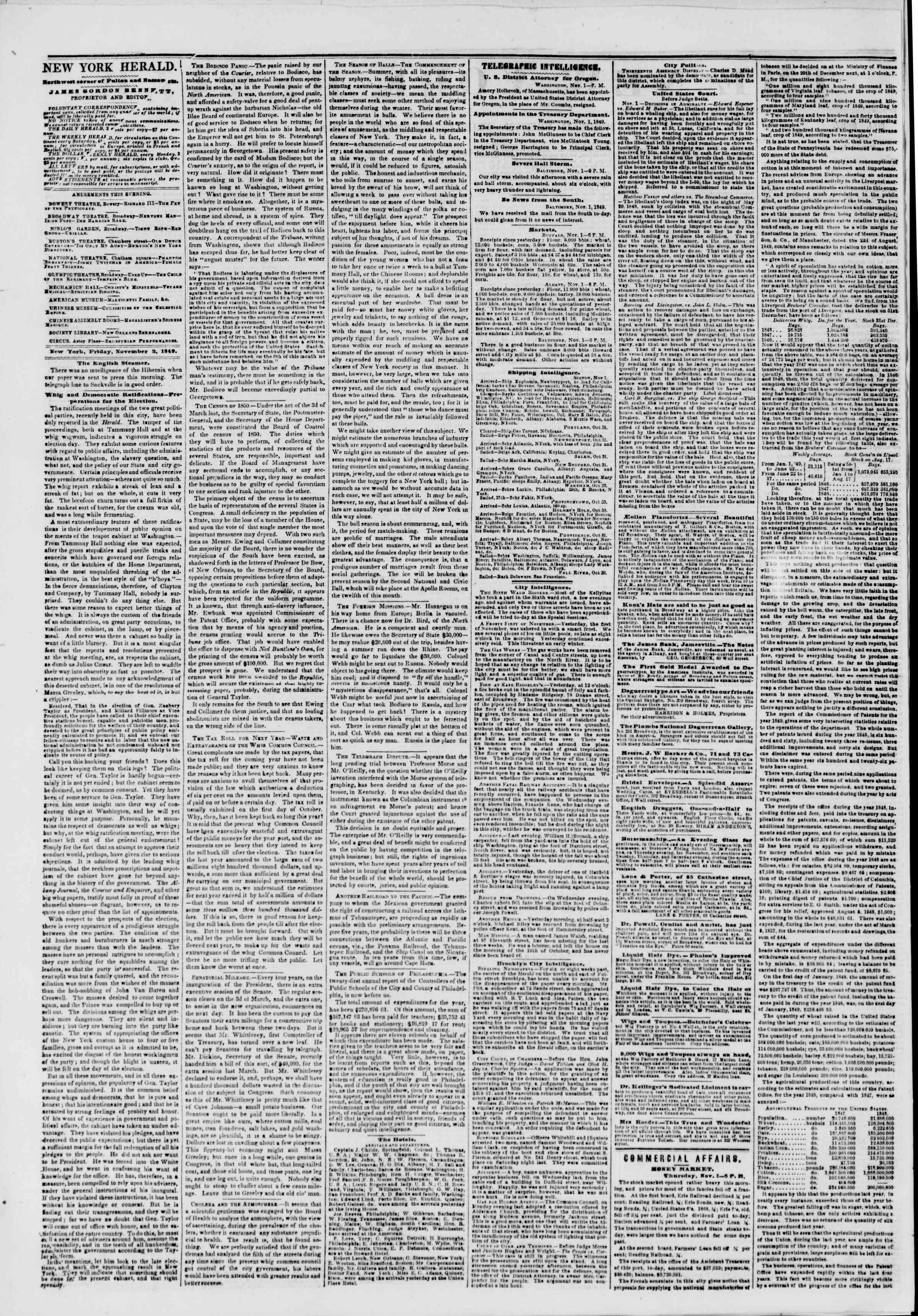 Newspaper of The New York Herald dated November 2, 1849 Page 2