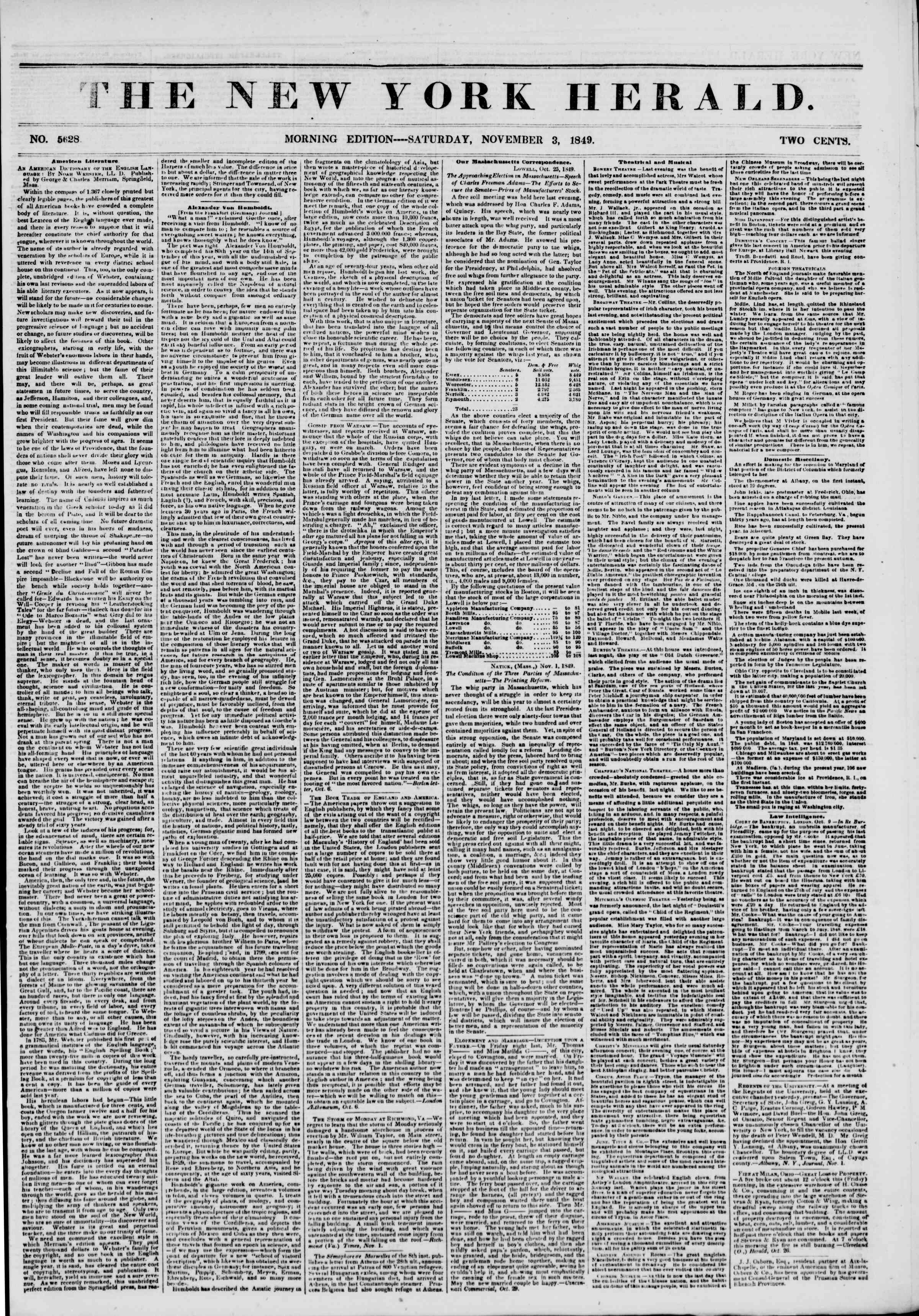 Newspaper of The New York Herald dated November 3, 1849 Page 1