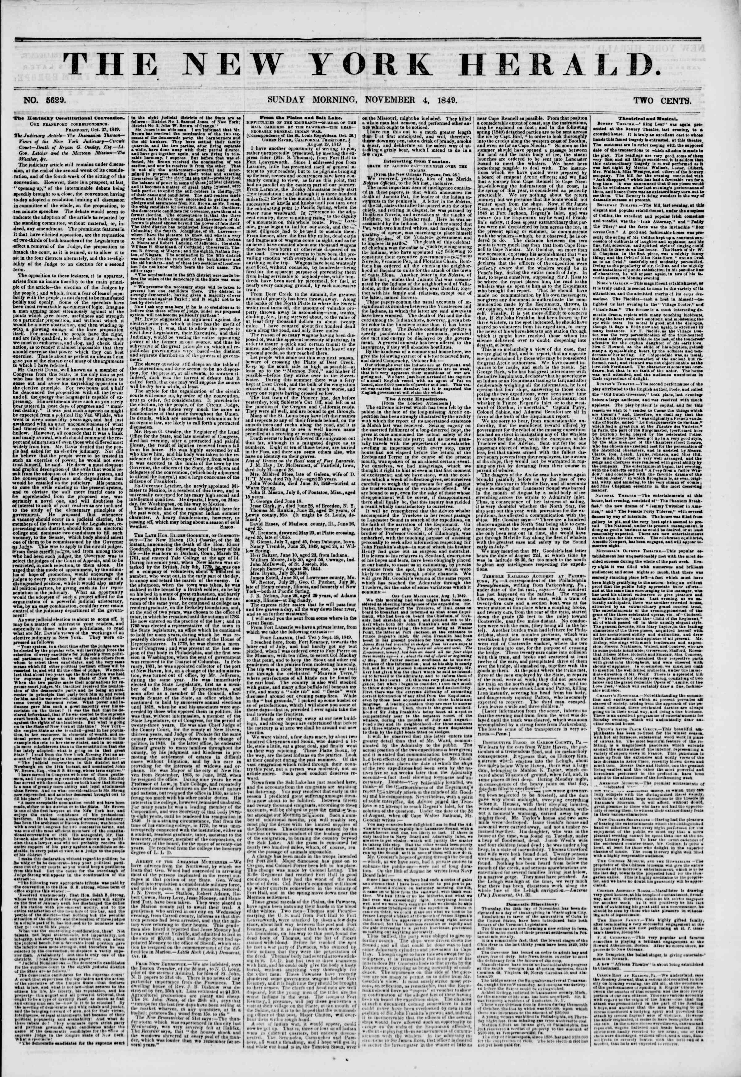 Newspaper of The New York Herald dated November 4, 1849 Page 1