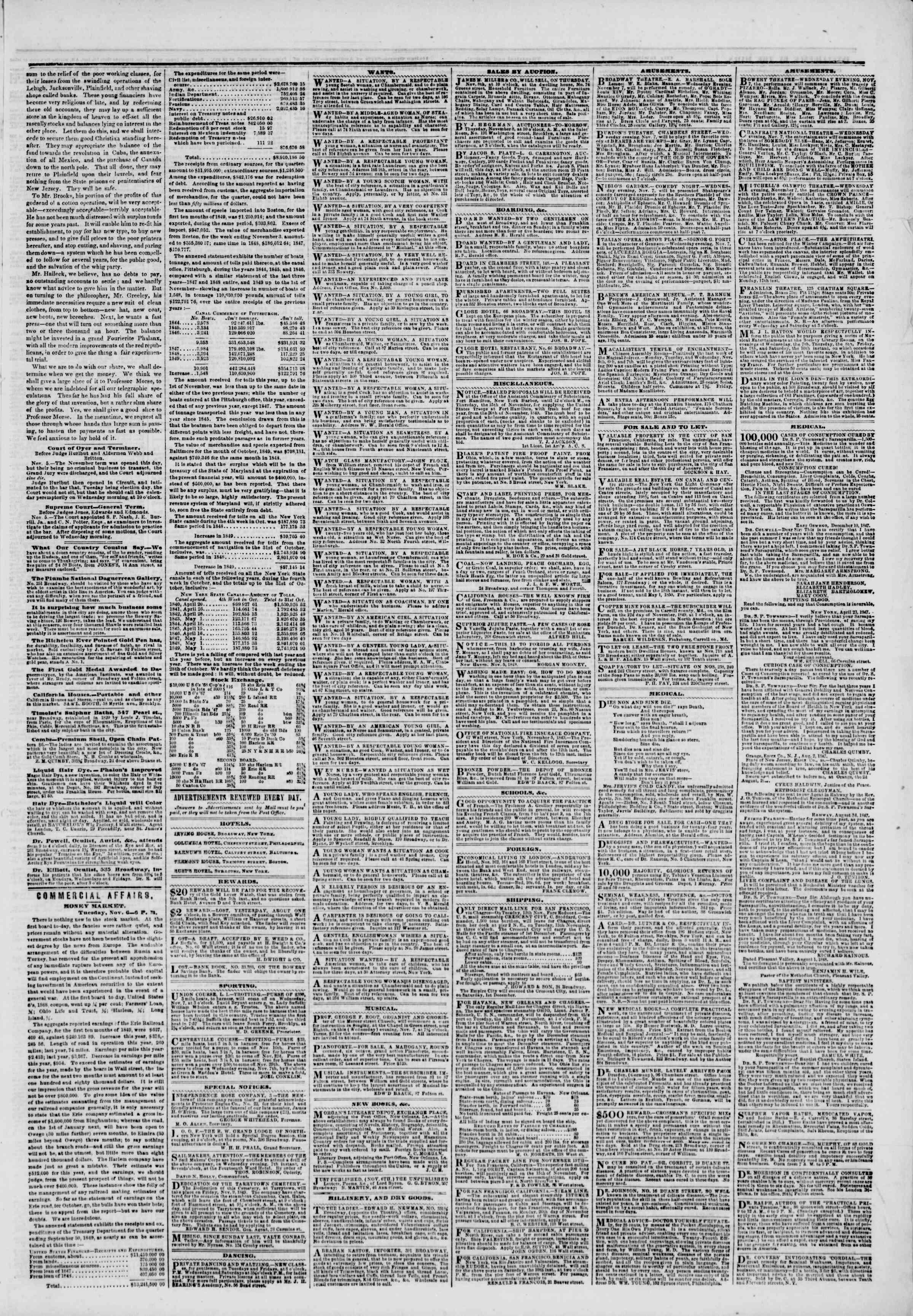 Newspaper of The New York Herald dated 7 Kasım 1849 Page 3