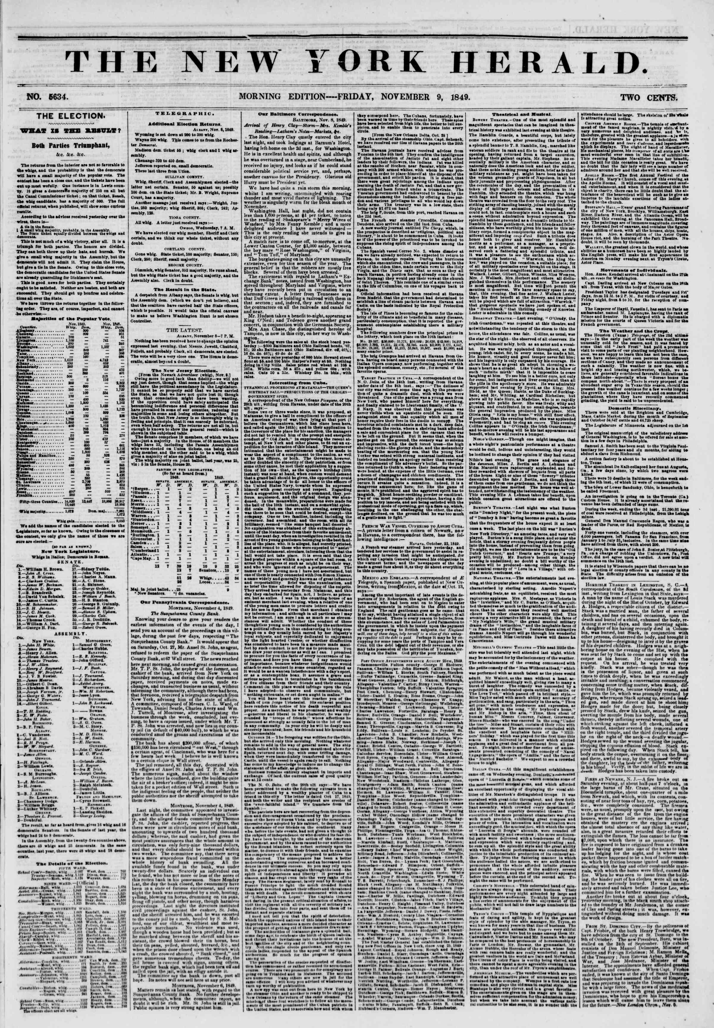 Newspaper of The New York Herald dated November 9, 1849 Page 1