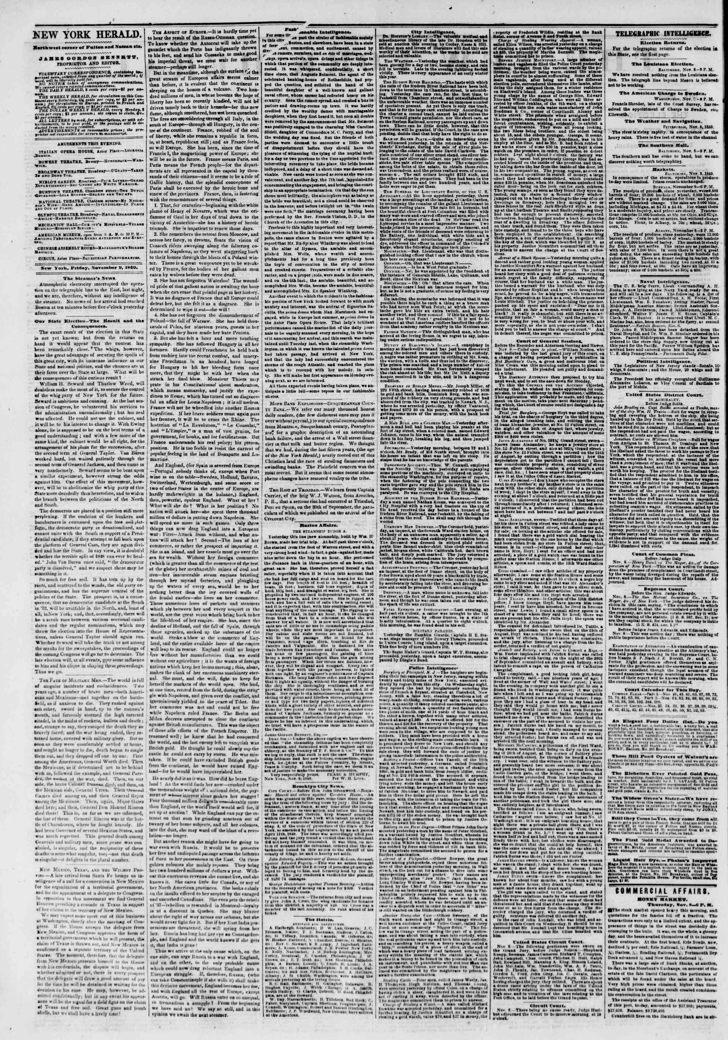 9 Kasım 1849 tarihli The New York Herald Gazetesi Sayfa 2