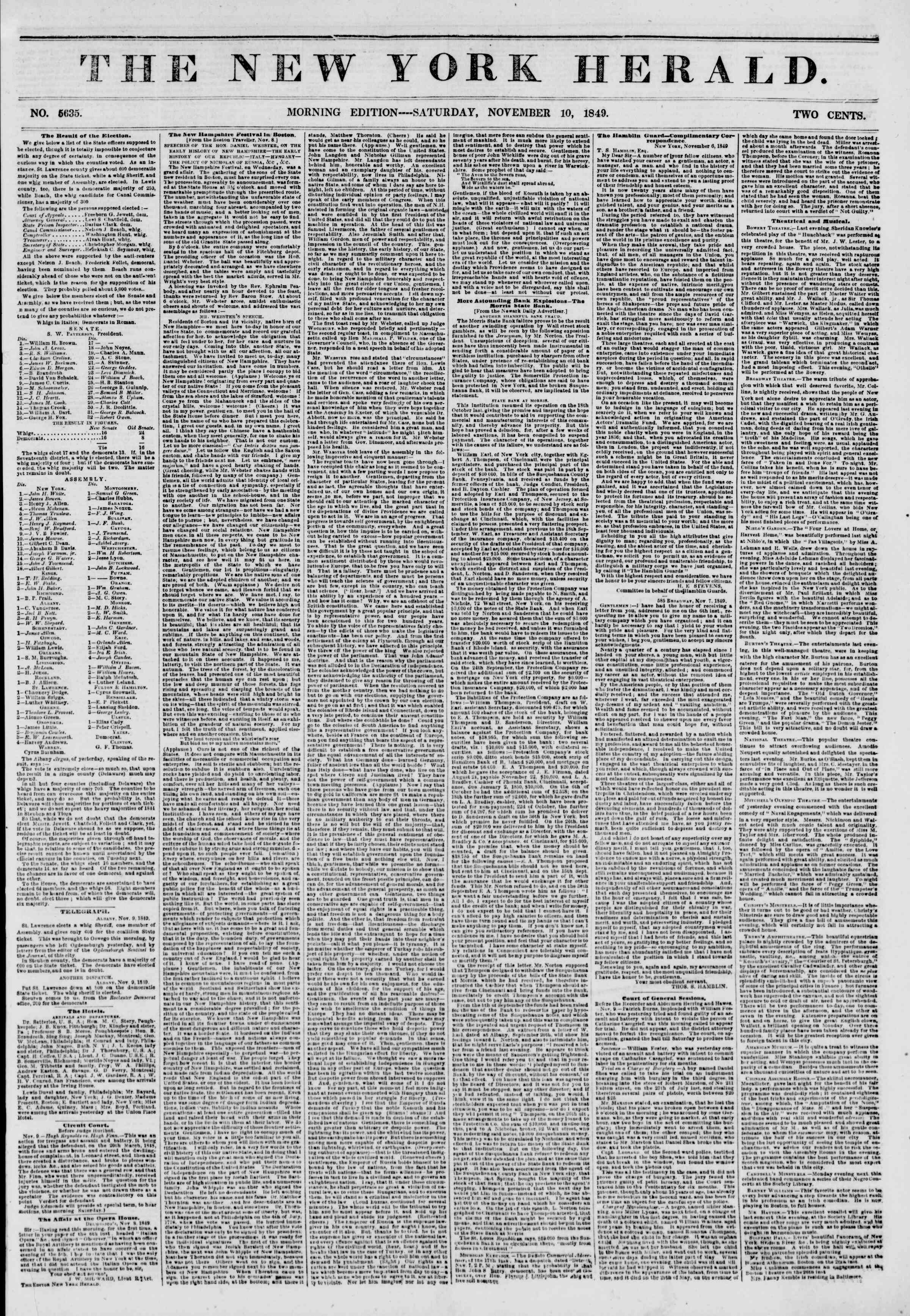 Newspaper of The New York Herald dated November 10, 1849 Page 1