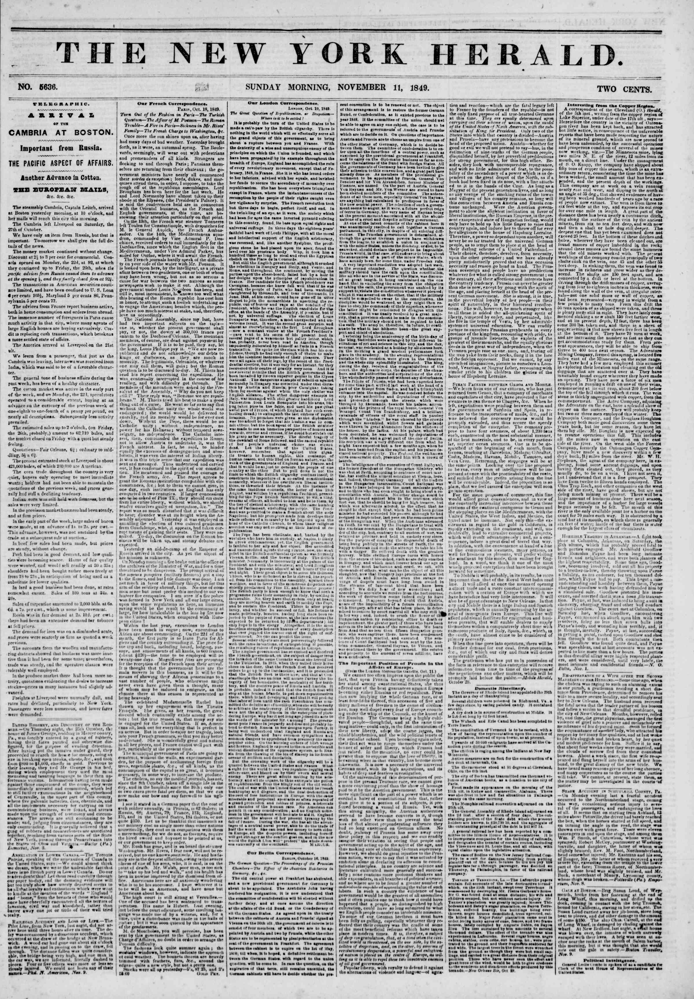 Newspaper of The New York Herald dated November 11, 1849 Page 1