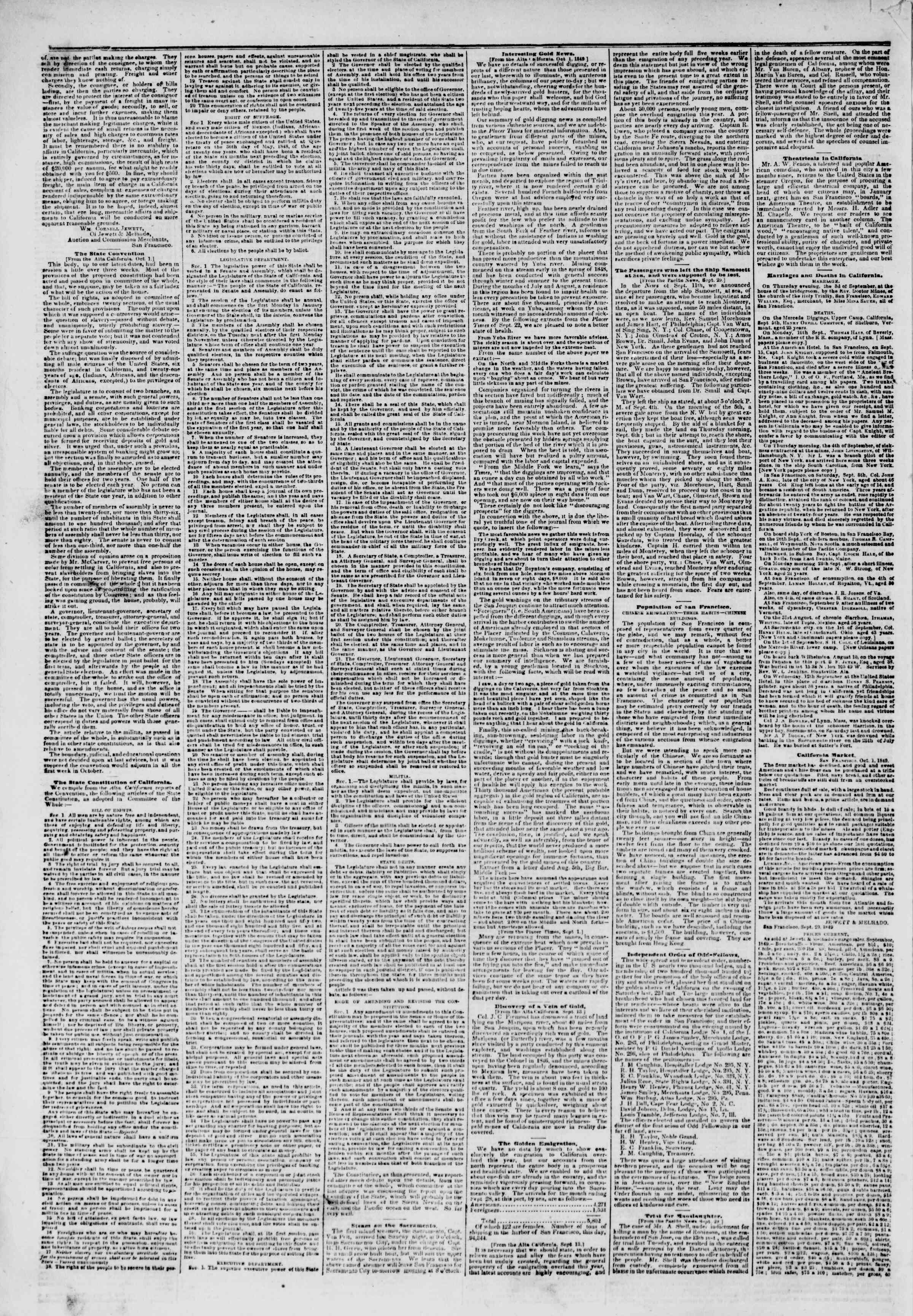 Newspaper of The New York Herald dated November 12, 1849 Page 2