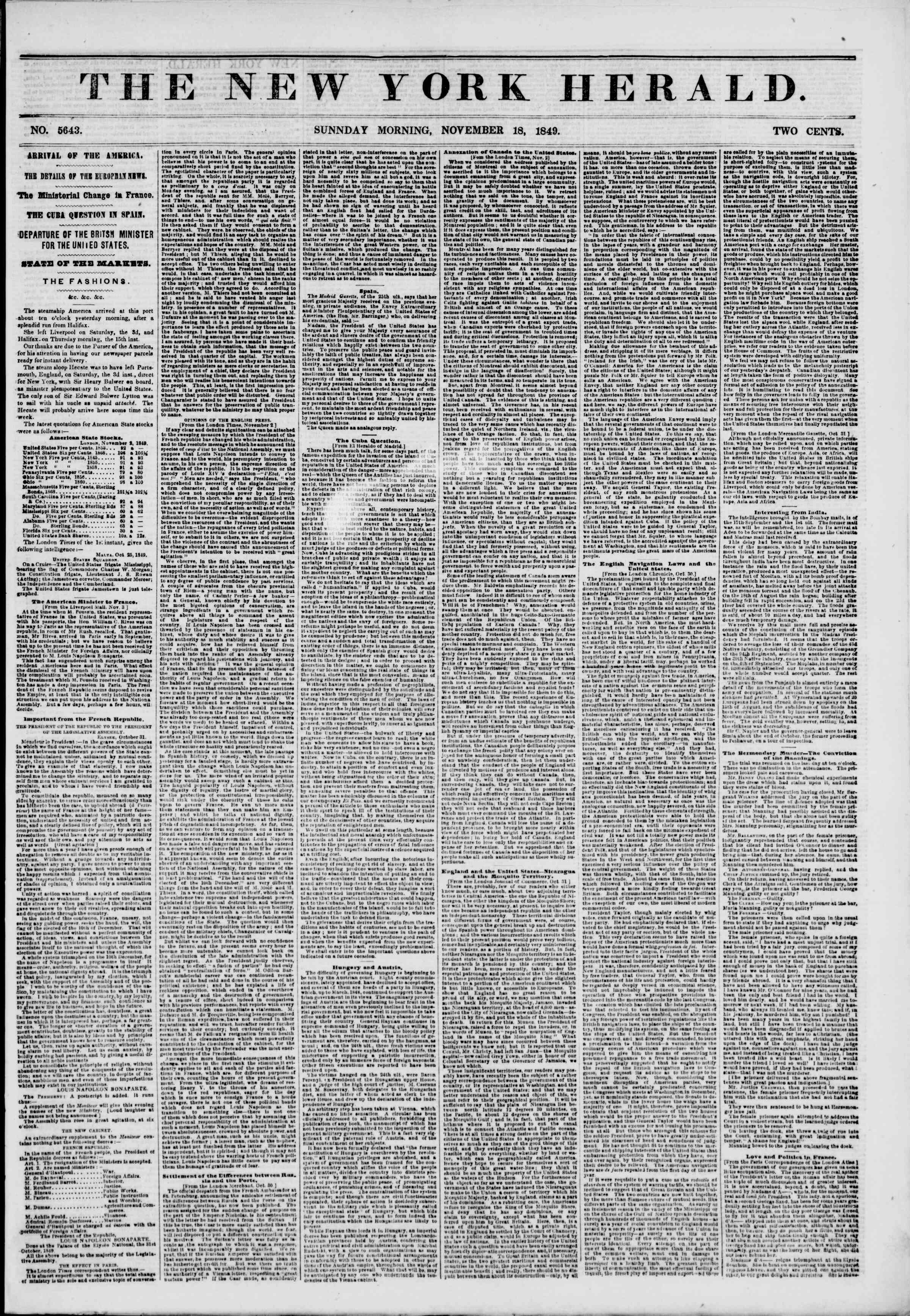 Newspaper of The New York Herald dated November 18, 1849 Page 1