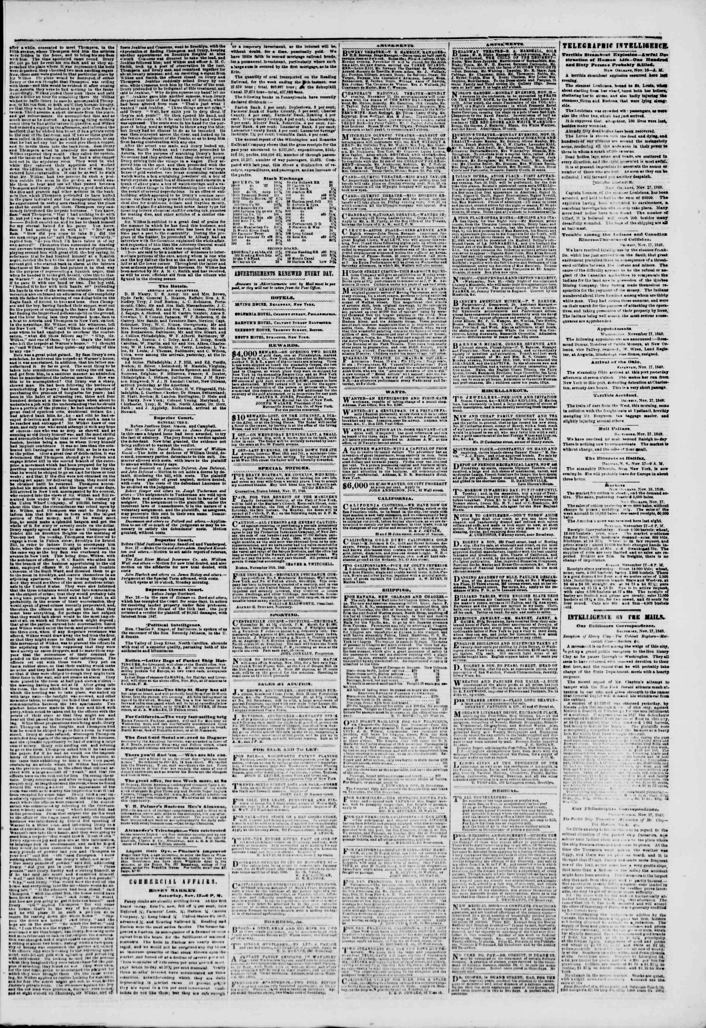 Newspaper of The New York Herald dated November 18, 1849 Page 3