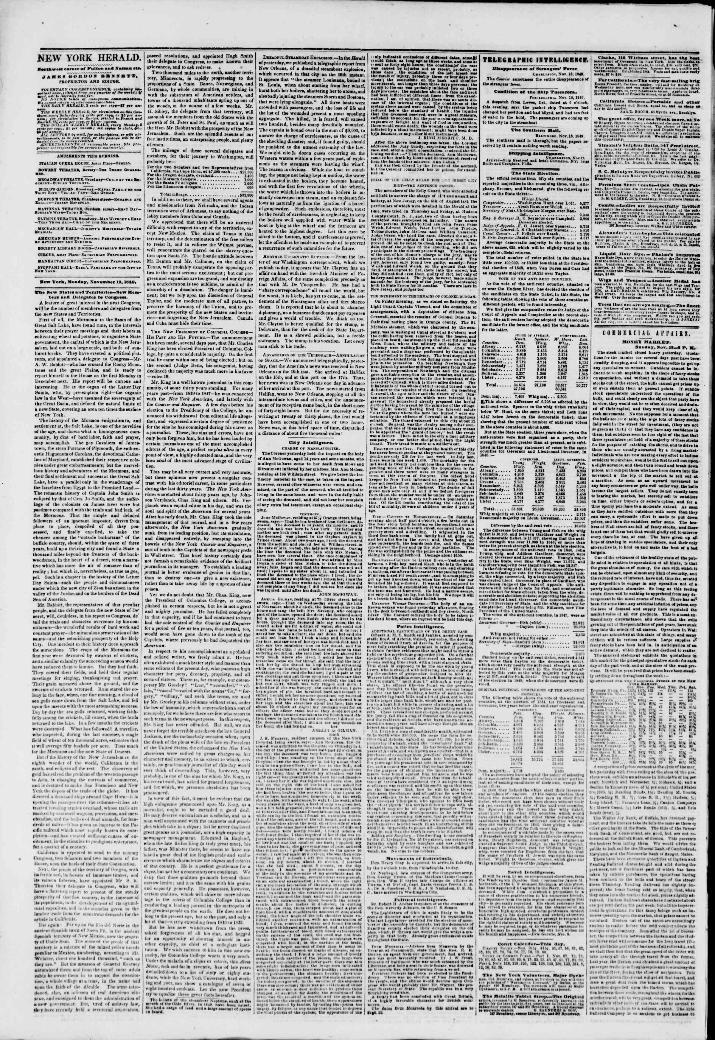 Newspaper of The New York Herald dated November 19, 1849 Page 2