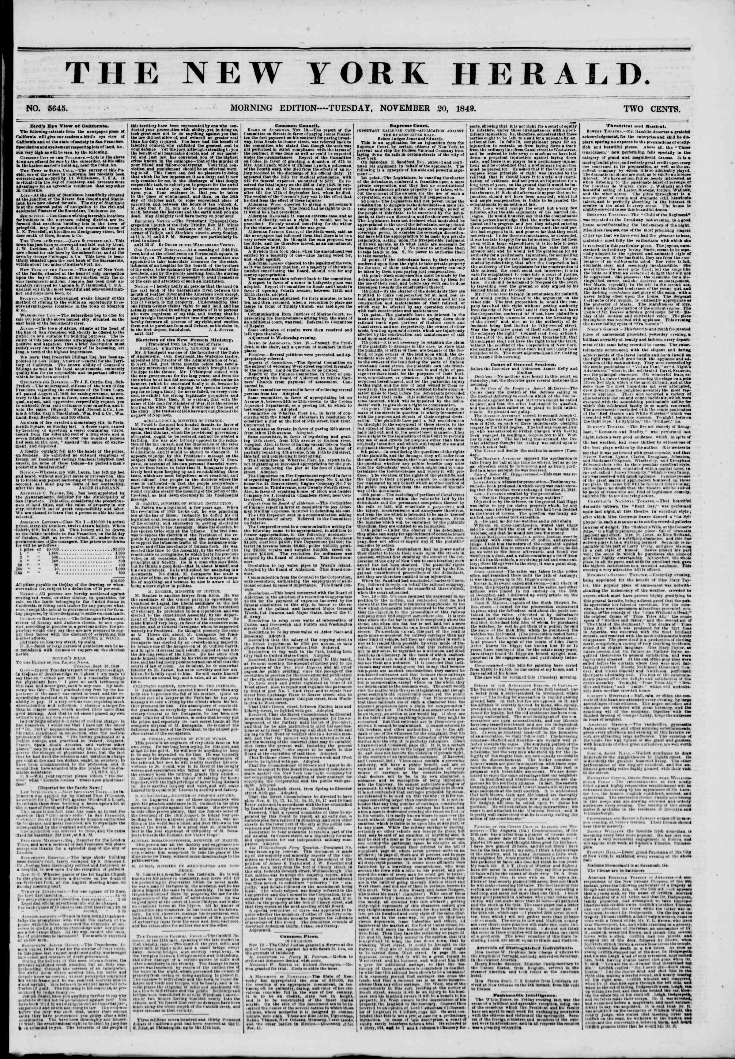 Newspaper of The New York Herald dated November 20, 1849 Page 1