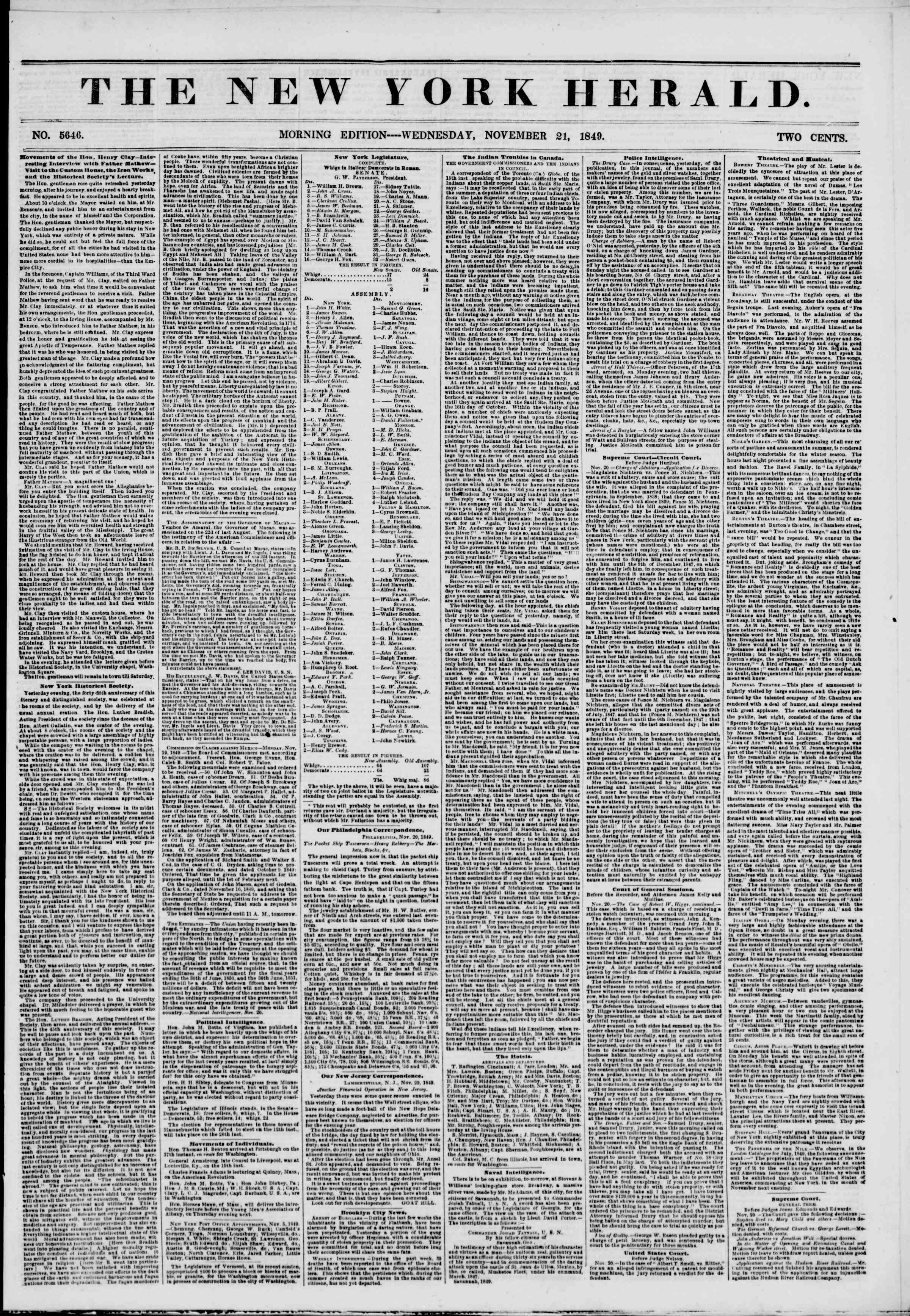 Newspaper of The New York Herald dated November 21, 1849 Page 1