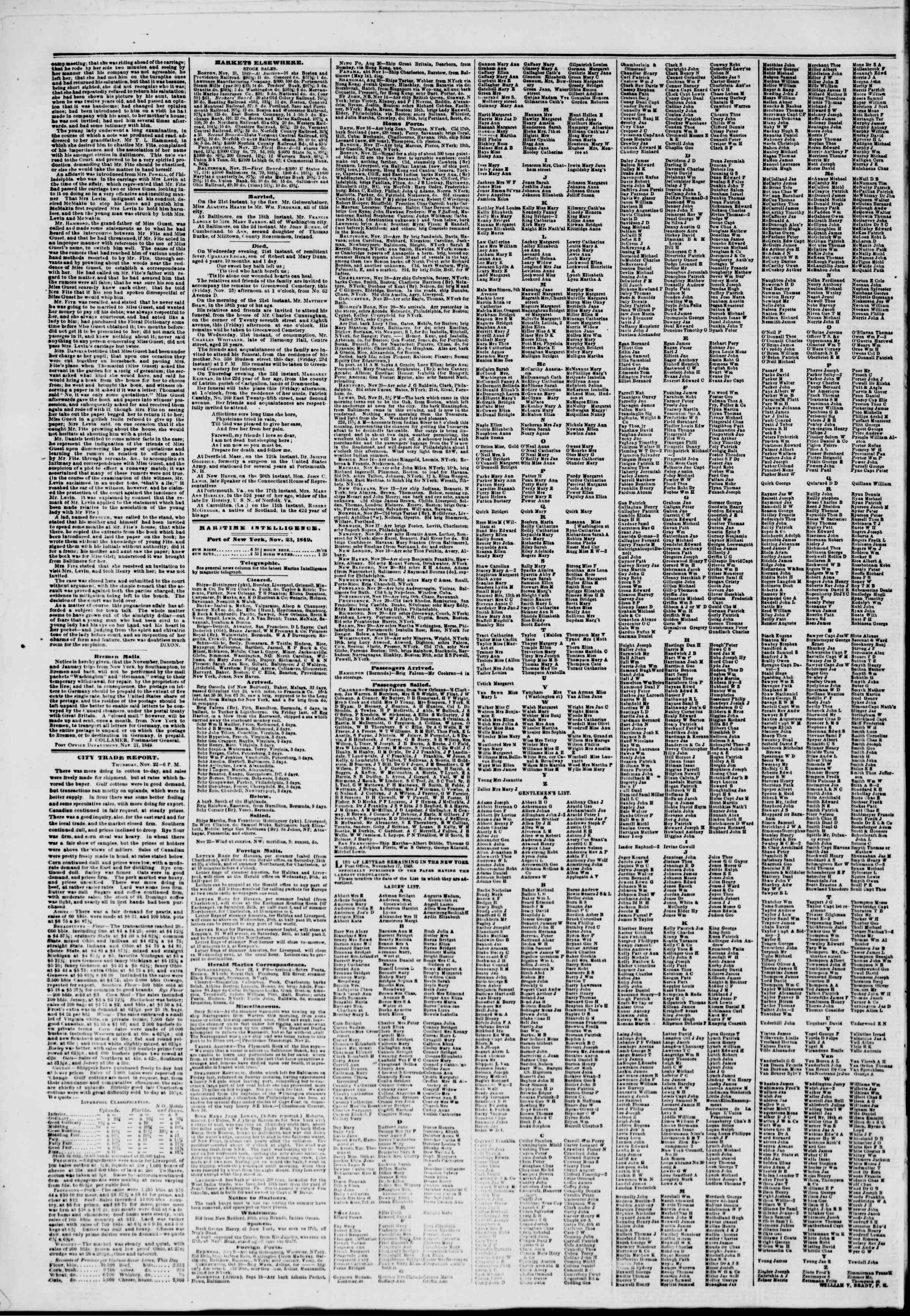 Newspaper of The New York Herald dated November 23, 1849 Page 4