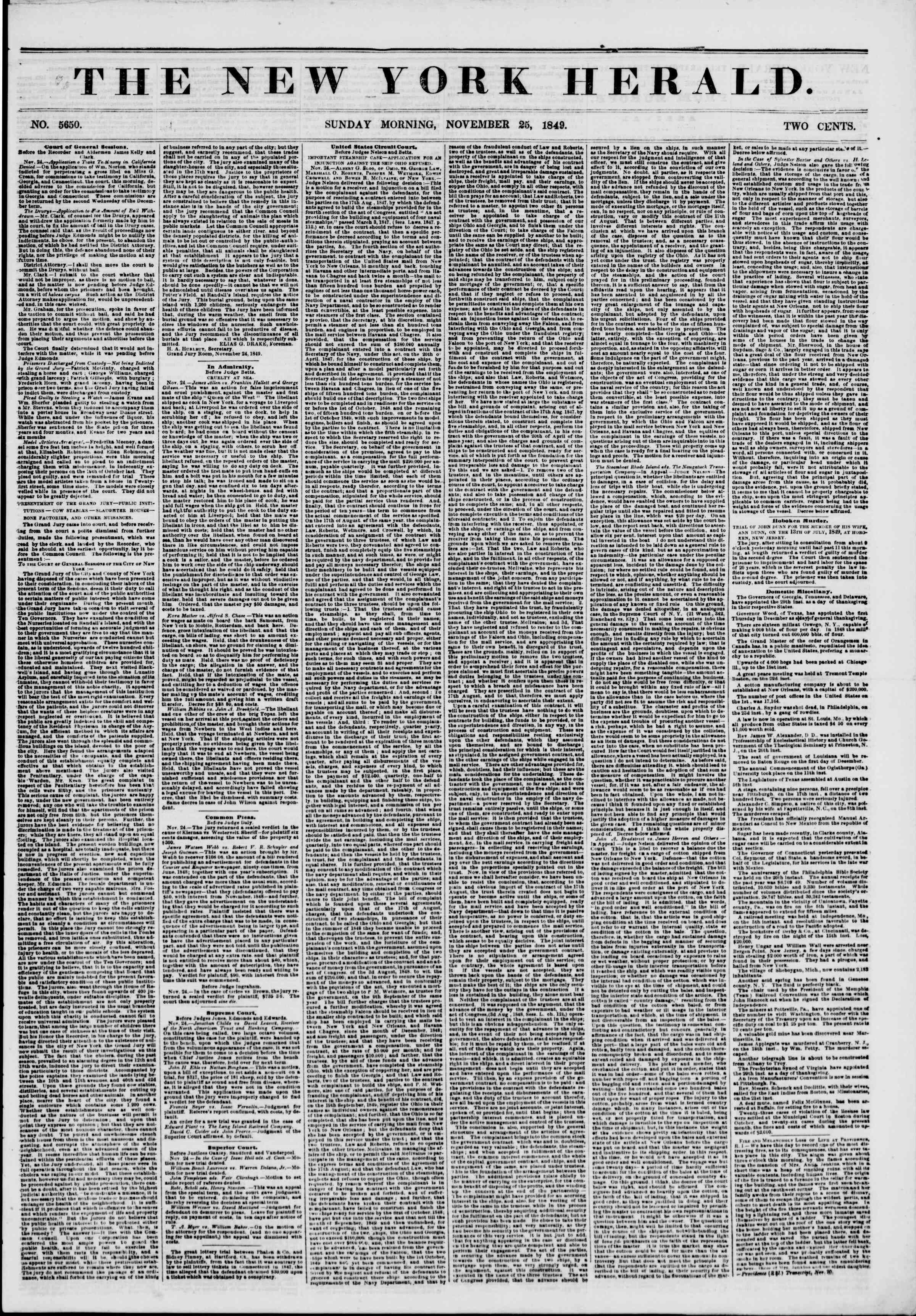 Newspaper of The New York Herald dated November 25, 1849 Page 1