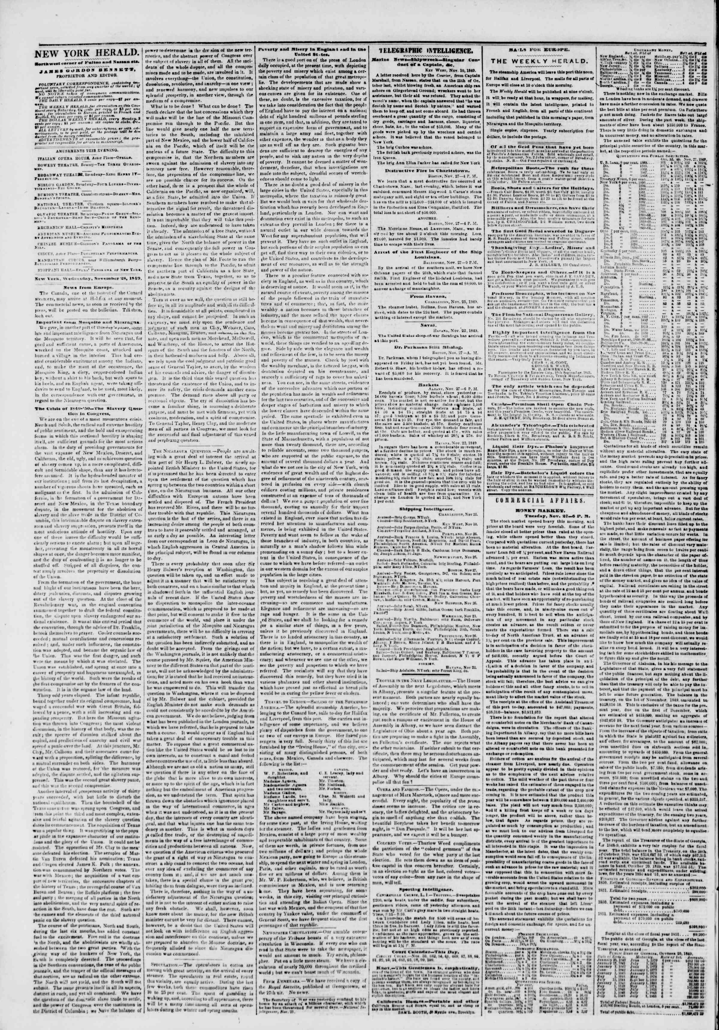 Newspaper of The New York Herald dated November 28, 1849 Page 2