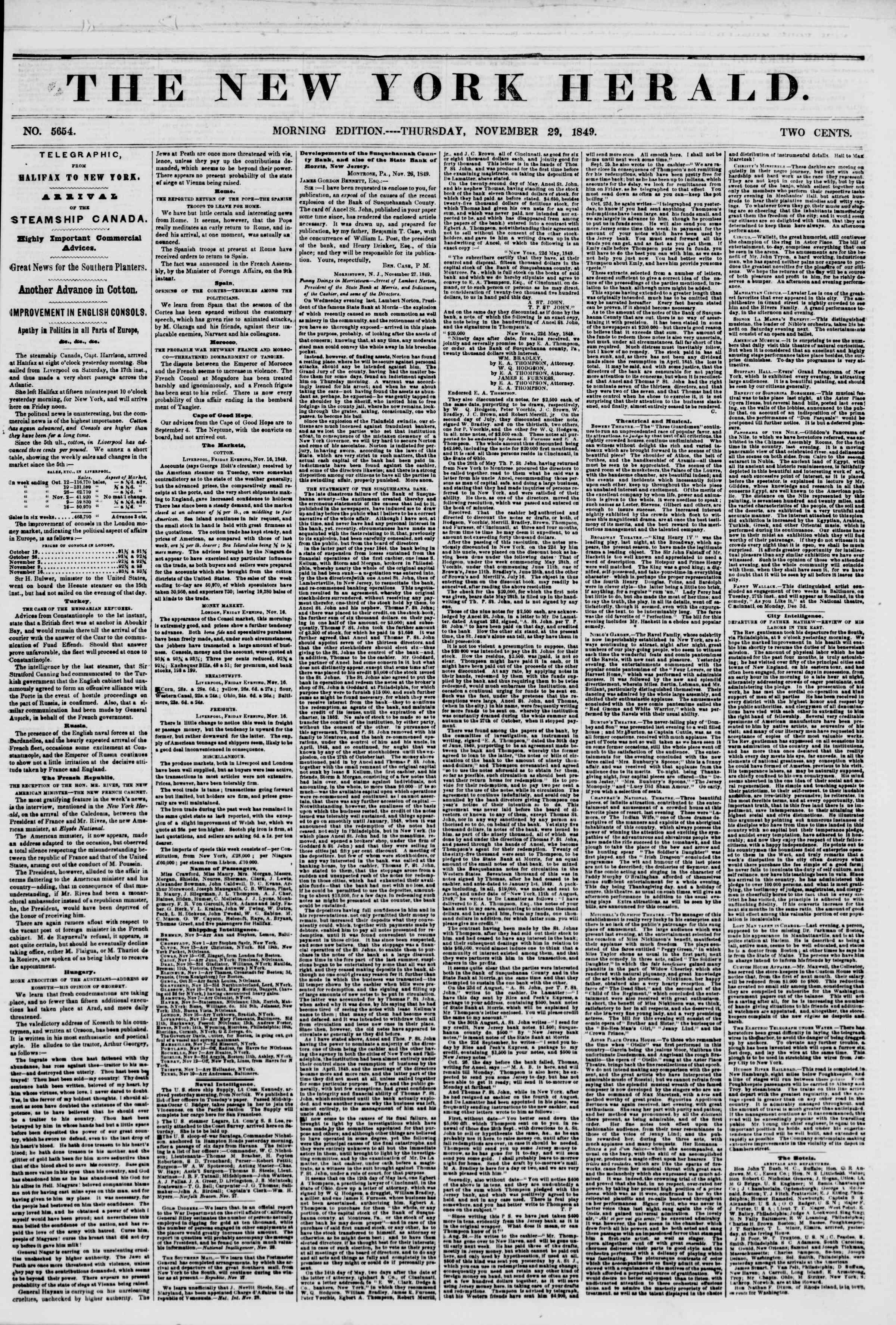 29 Kasım 1849 tarihli The New York Herald Gazetesi Sayfa 1