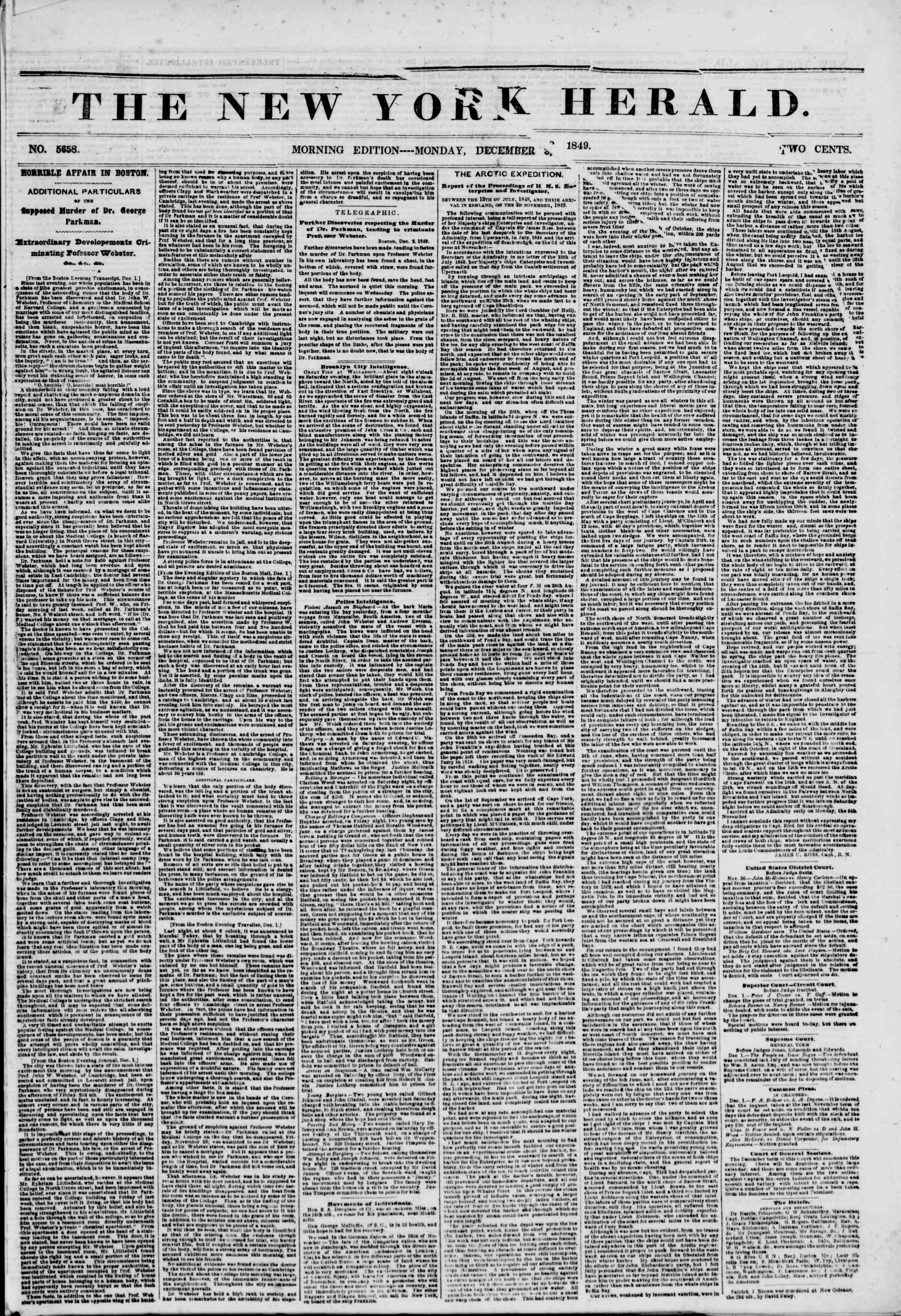Newspaper of The New York Herald dated December 3, 1849 Page 1