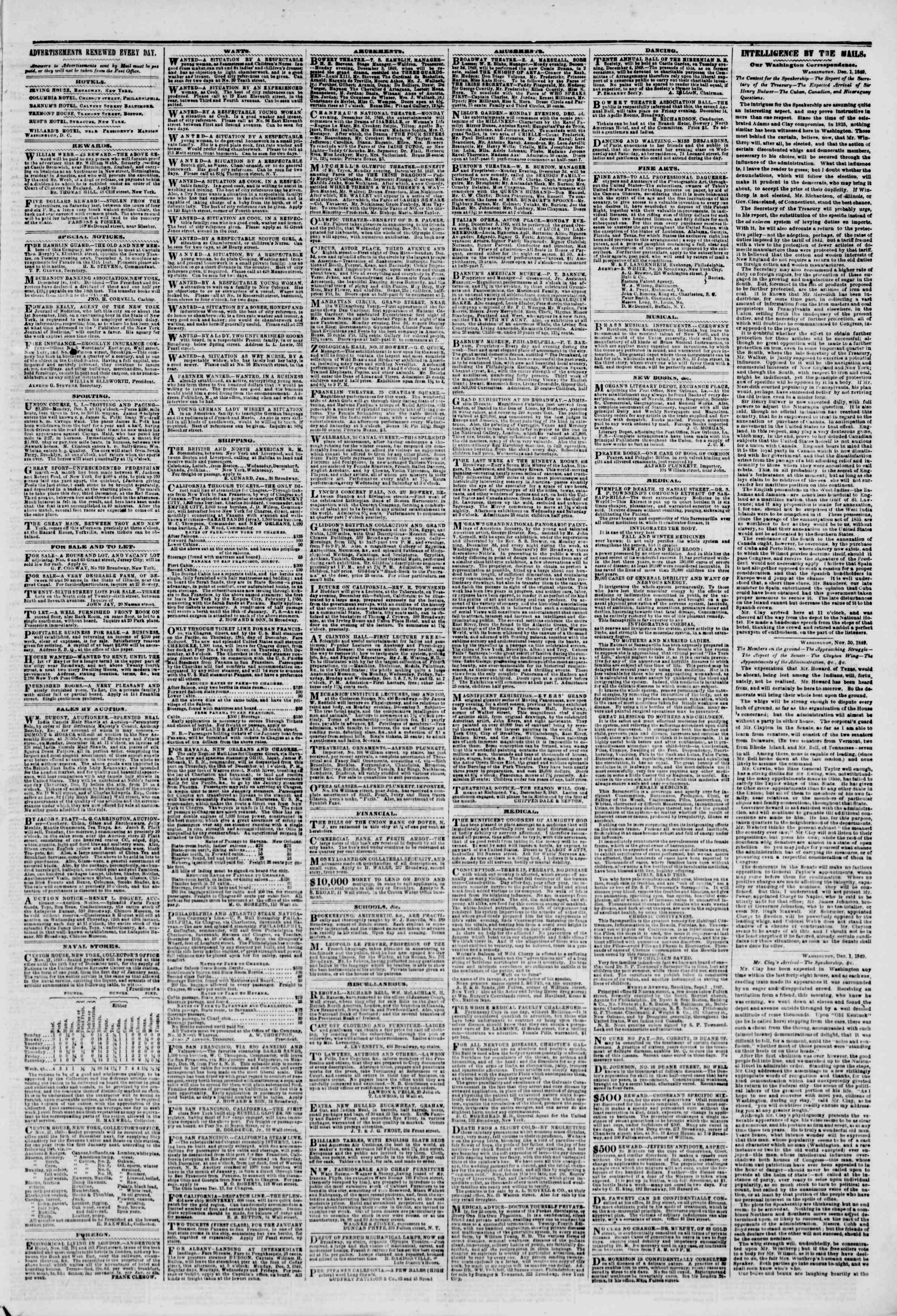 Newspaper of The New York Herald dated December 3, 1849 Page 3