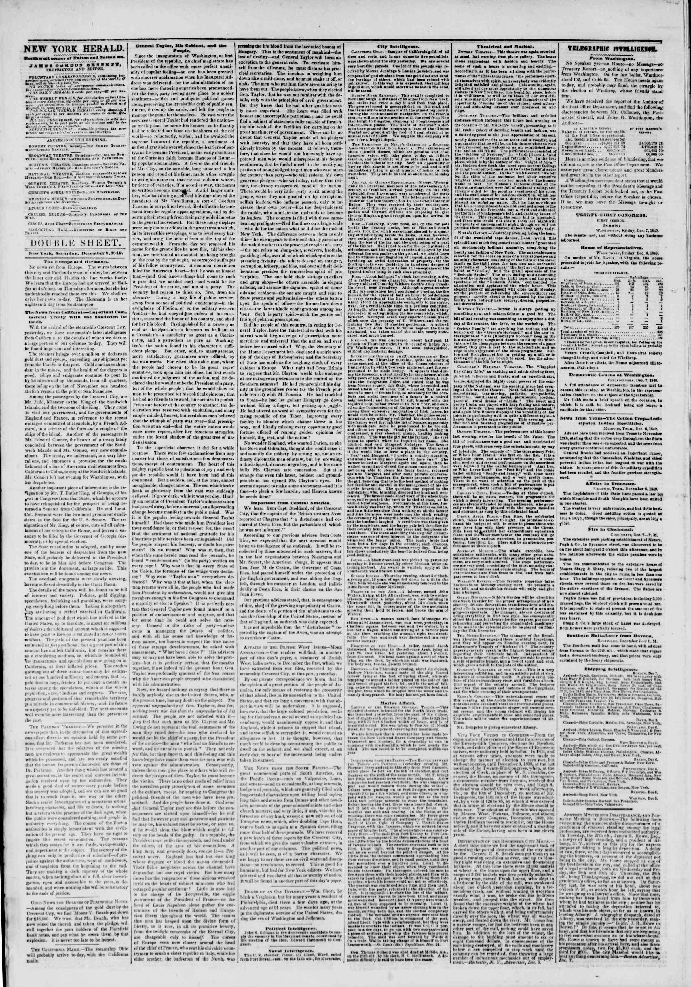 Newspaper of The New York Herald dated December 8, 1849 Page 4