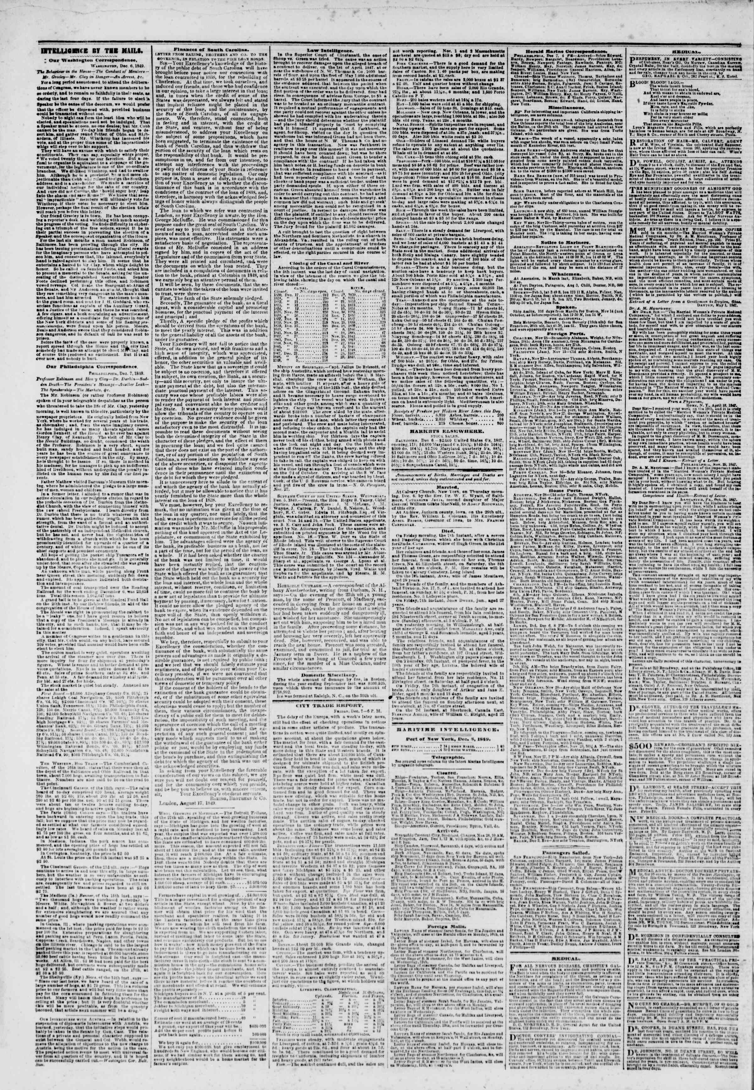 Newspaper of The New York Herald dated December 8, 1849 Page 8