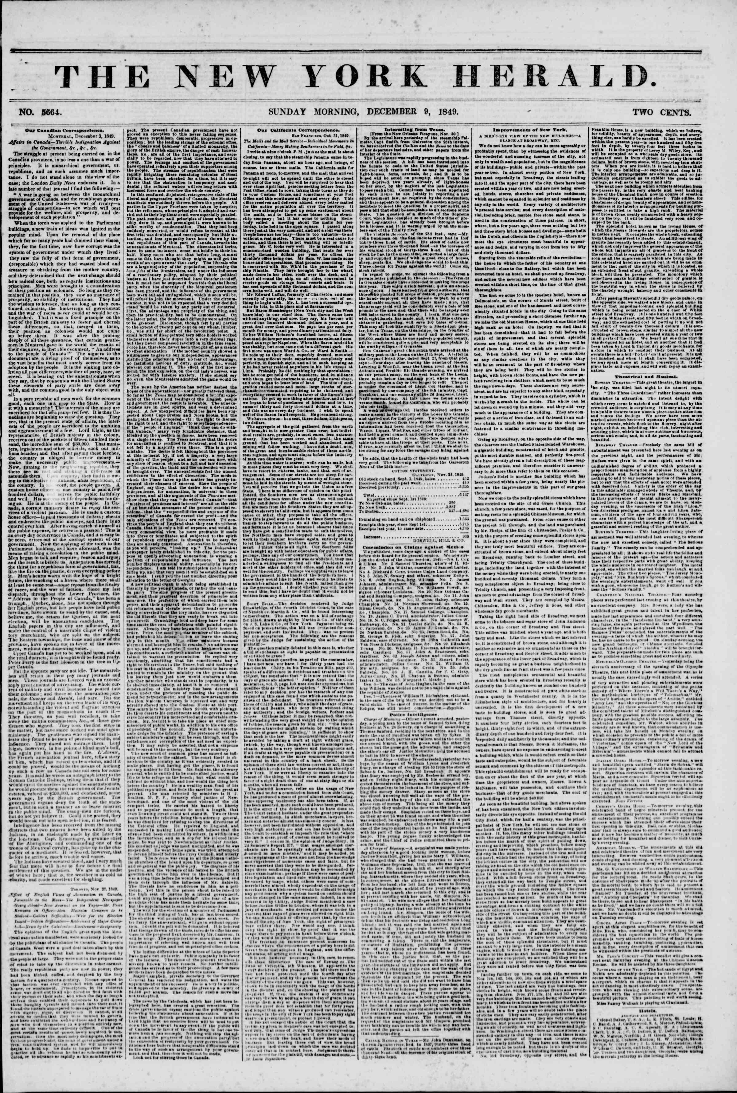 Newspaper of The New York Herald dated December 9, 1849 Page 1