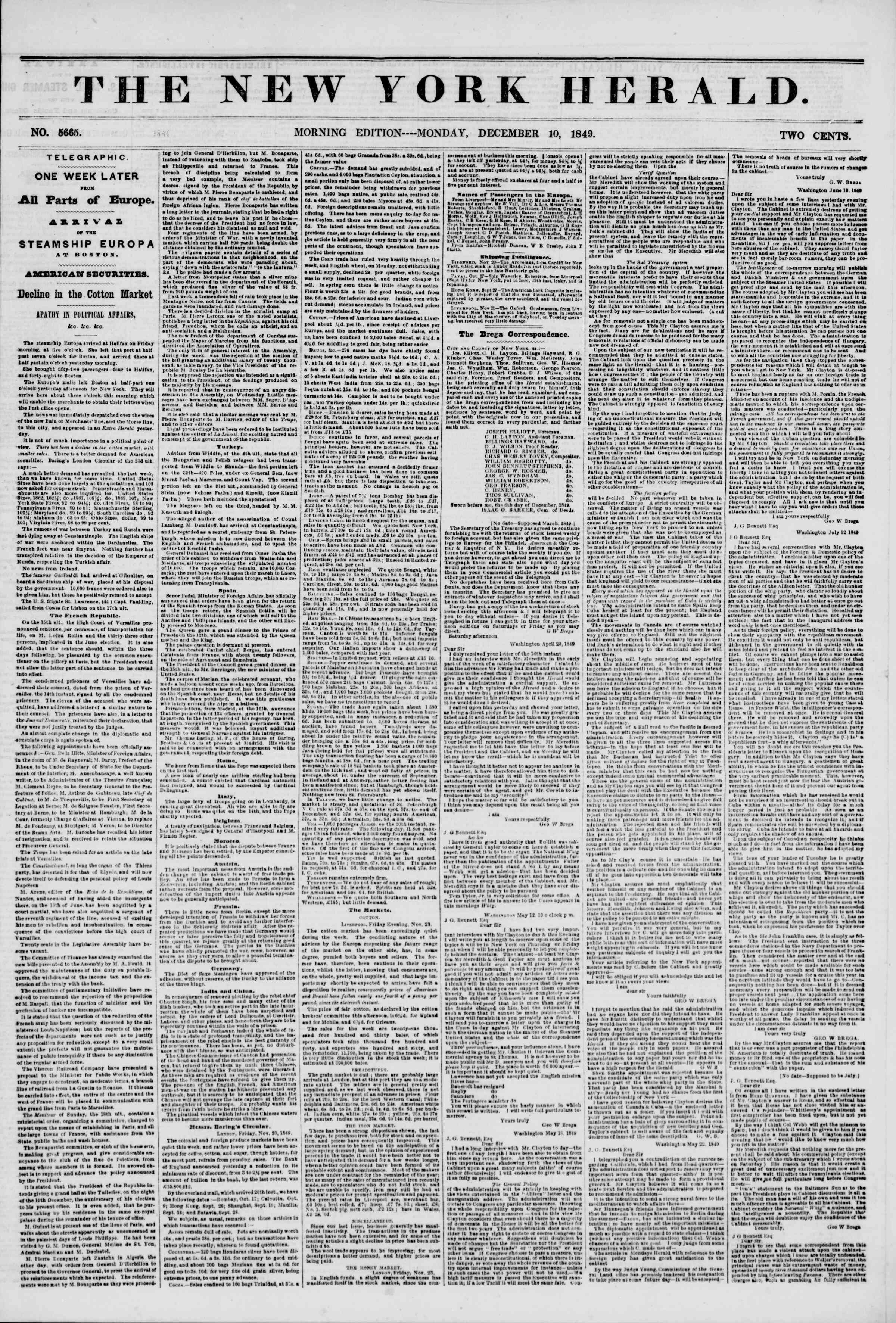 Newspaper of The New York Herald dated December 10, 1849 Page 1