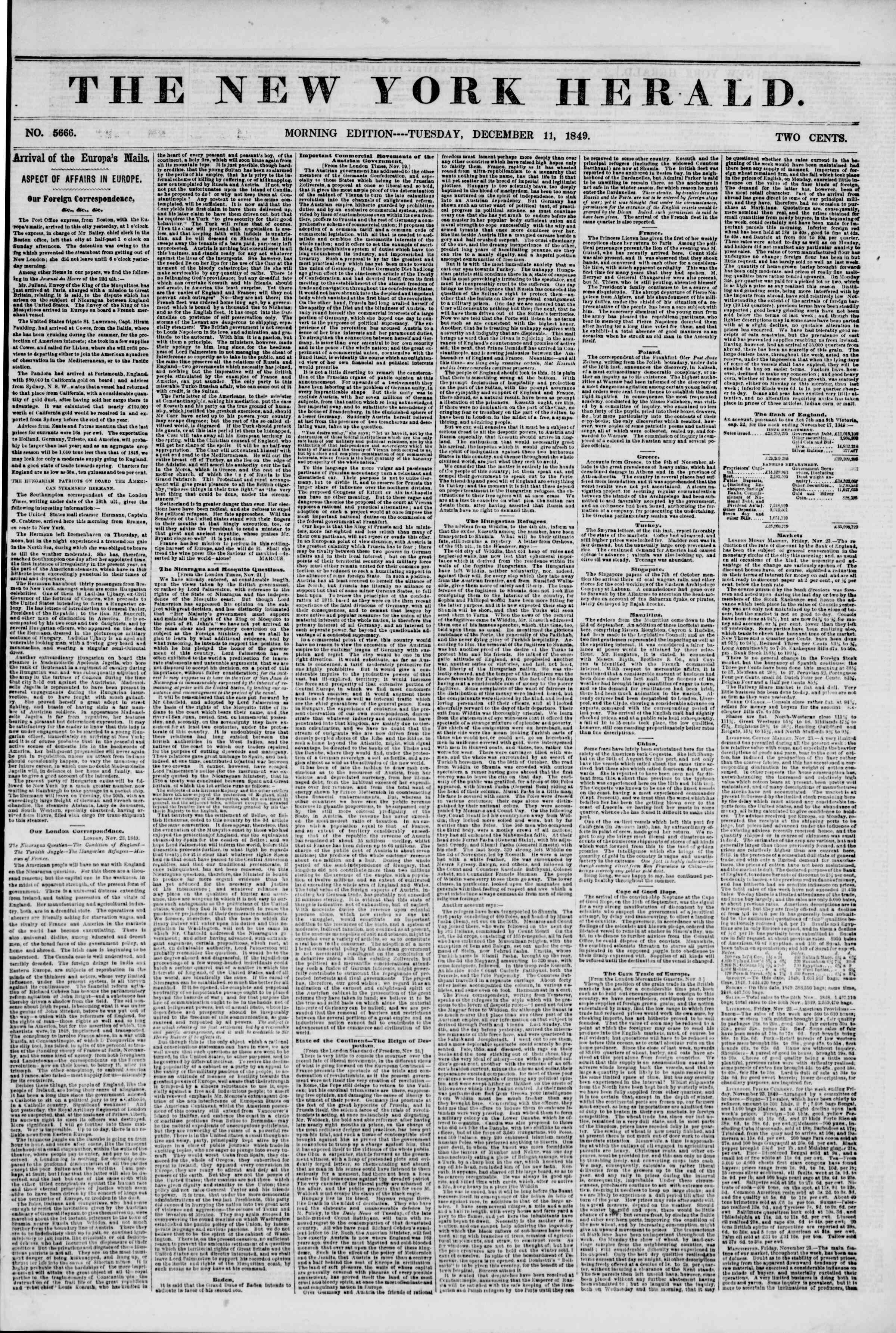 Newspaper of The New York Herald dated December 11, 1849 Page 1