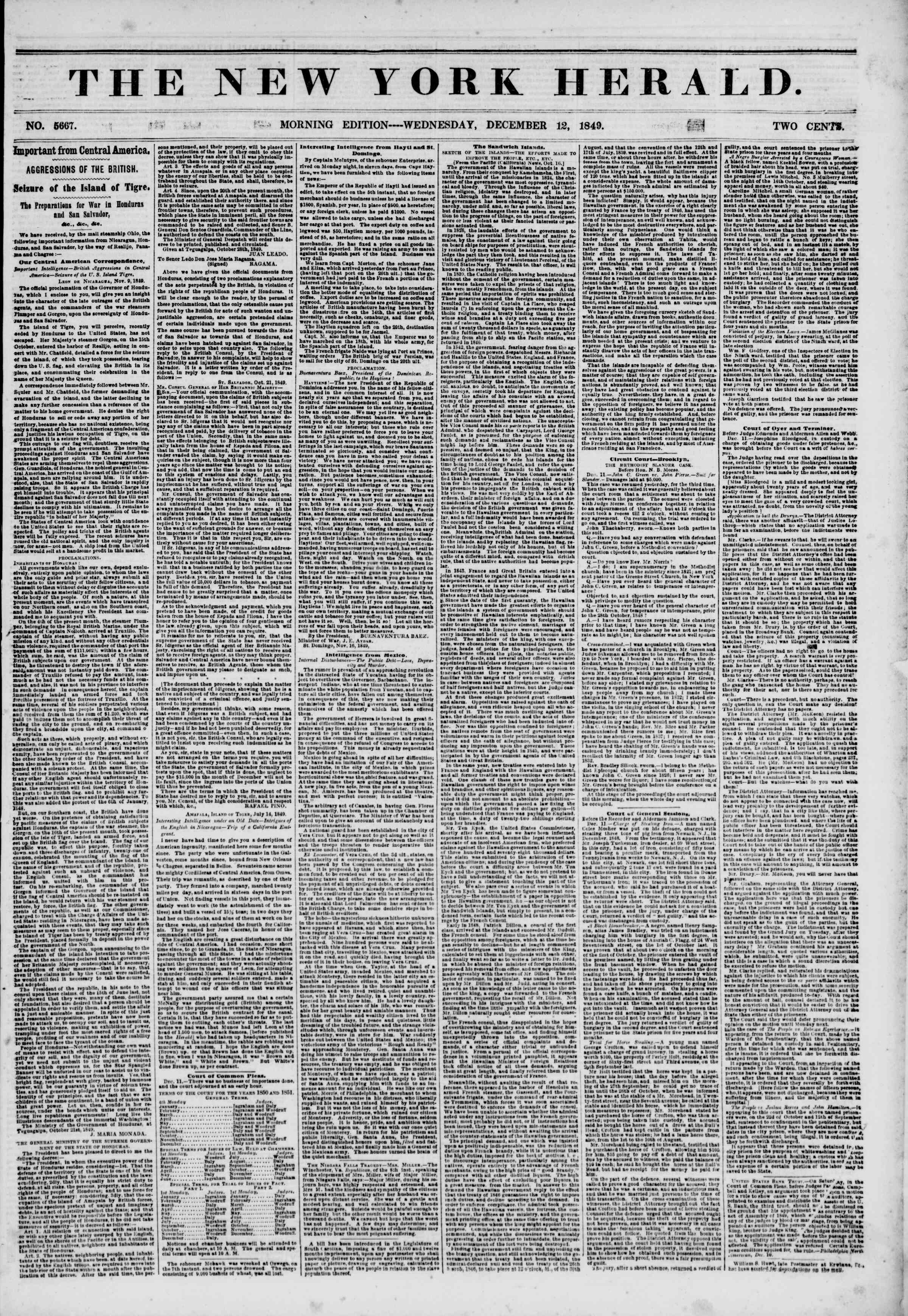 Newspaper of The New York Herald dated December 12, 1849 Page 1