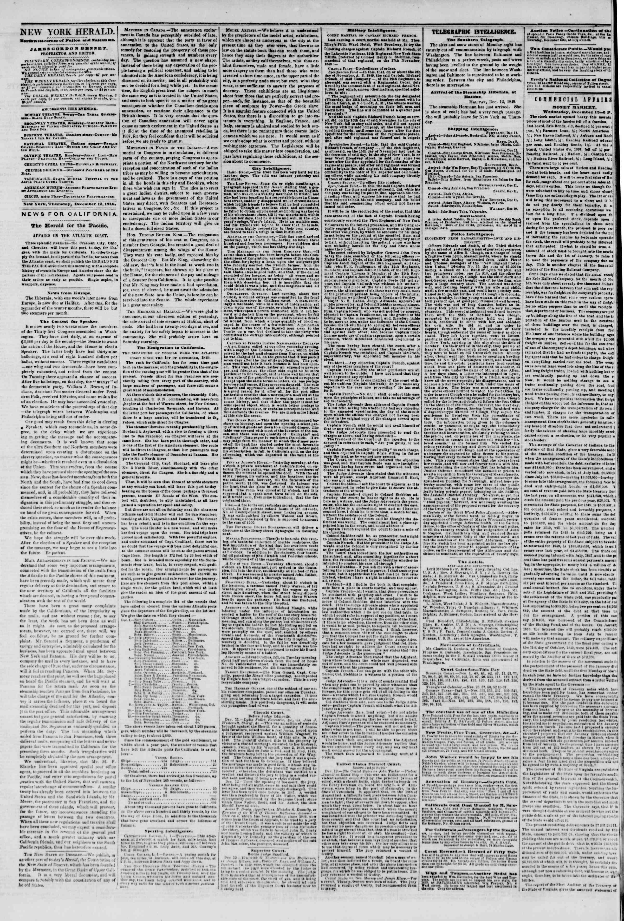 Newspaper of The New York Herald dated December 13, 1849 Page 2