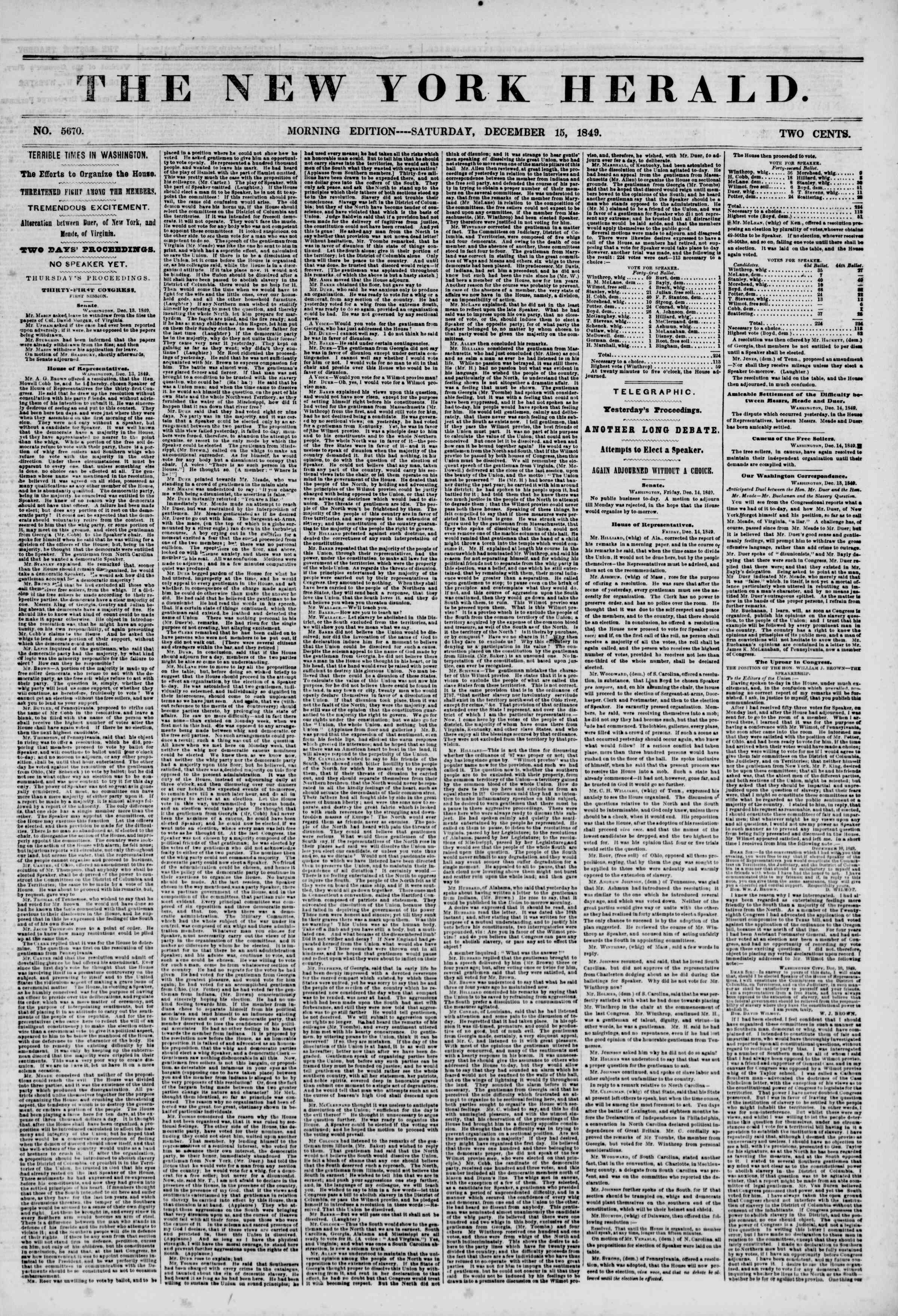 Newspaper of The New York Herald dated December 15, 1849 Page 1