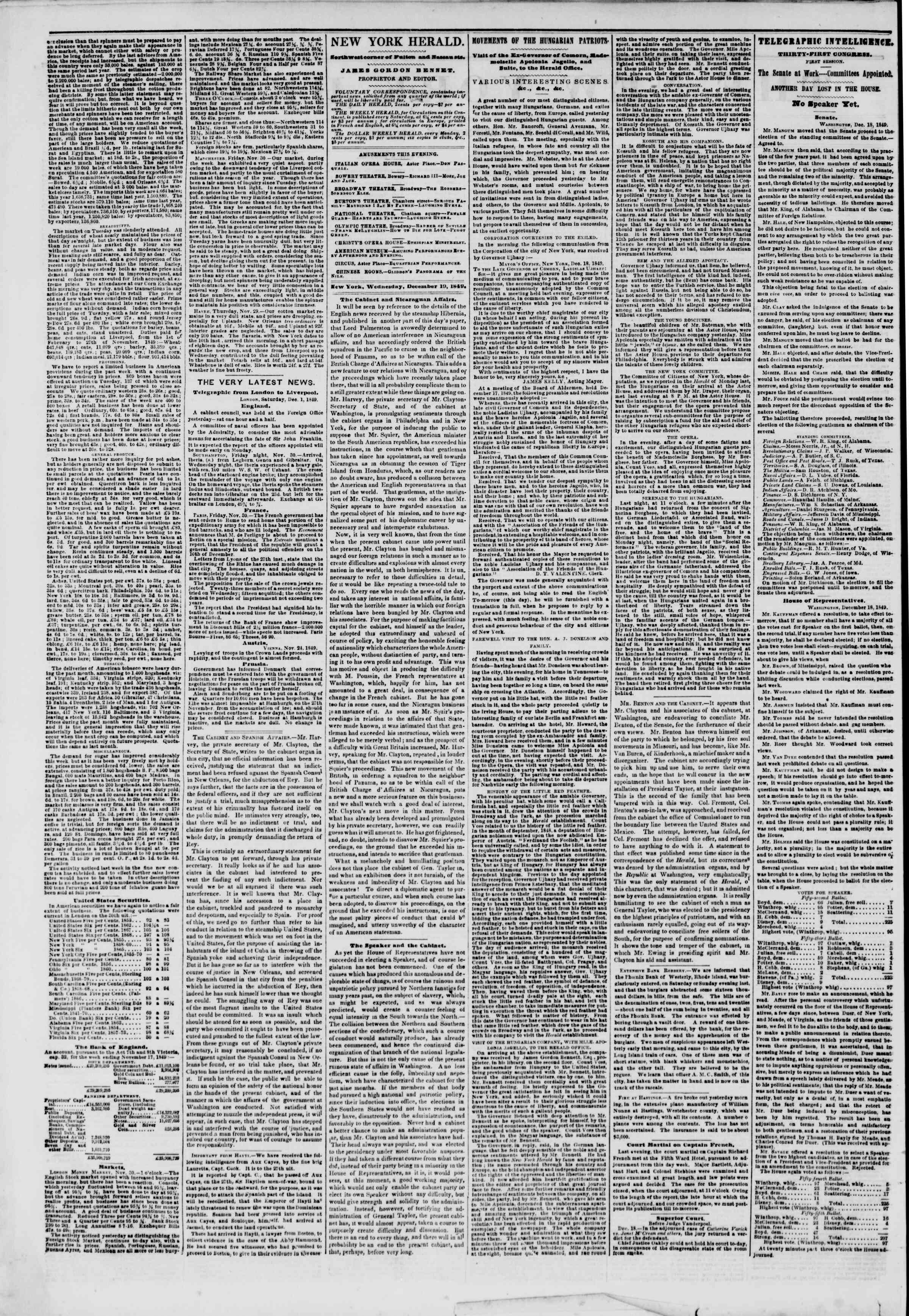 Newspaper of The New York Herald dated December 19, 1849 Page 2