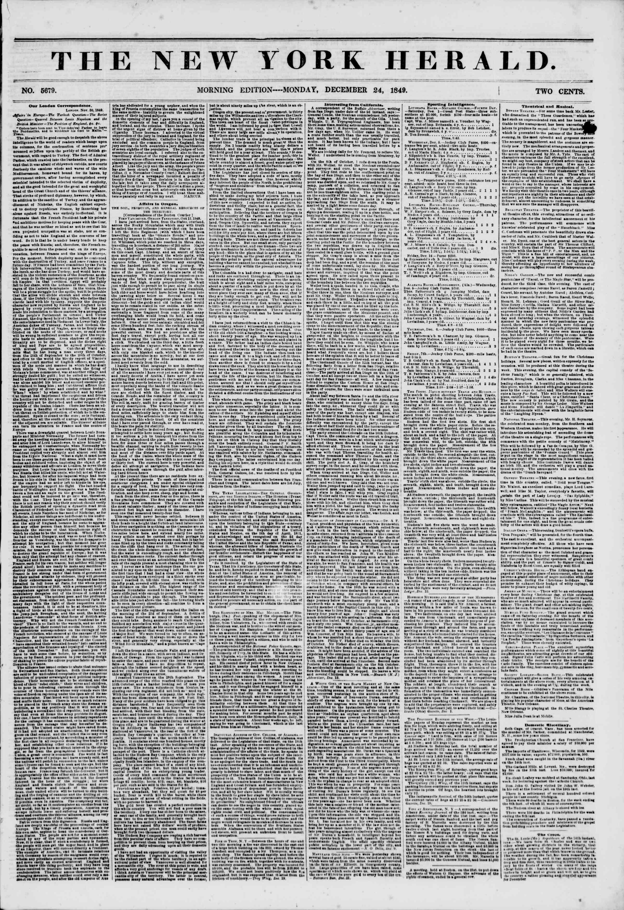 Newspaper of The New York Herald dated December 24, 1849 Page 1