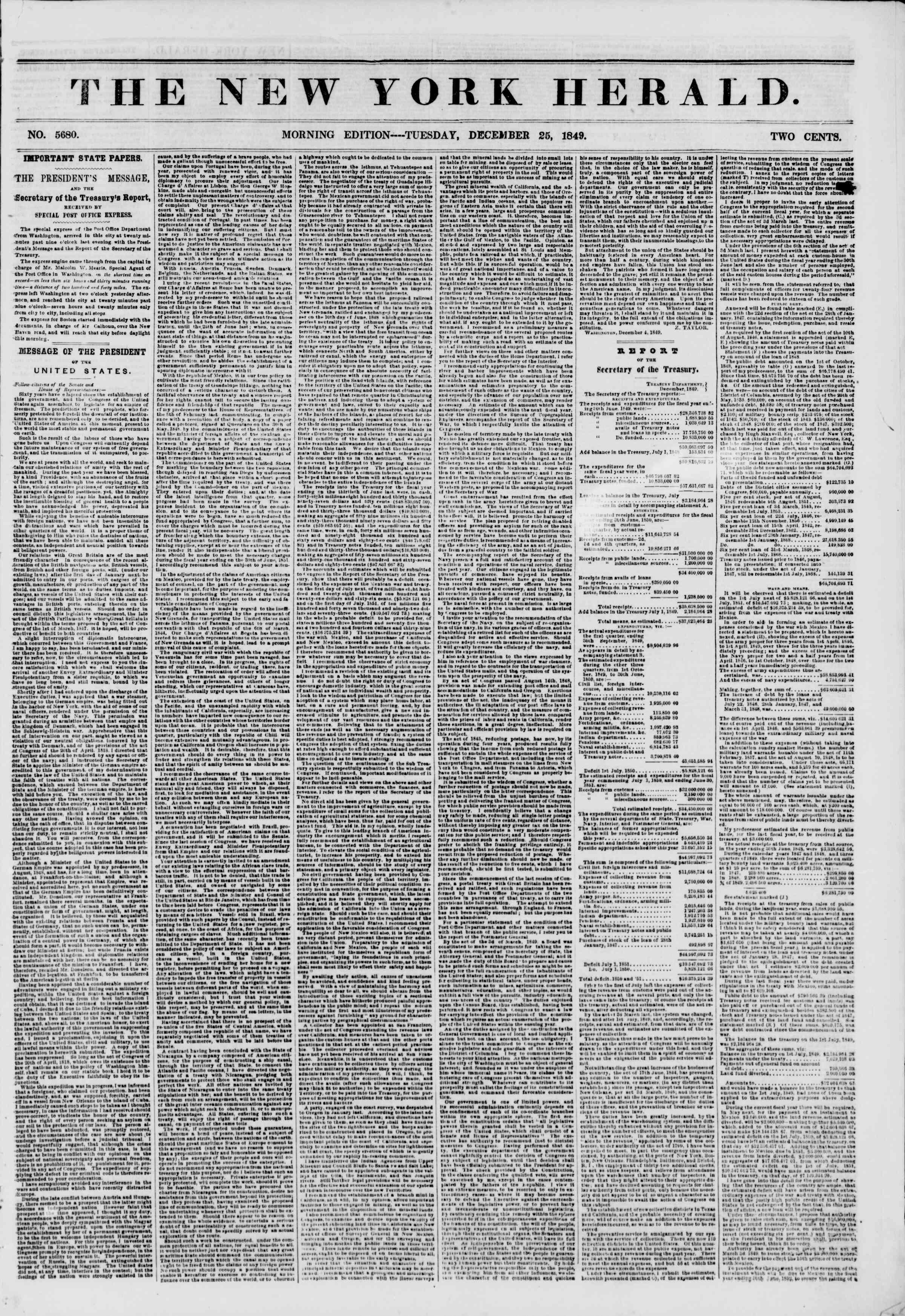 25 Aralık 1849 tarihli The New York Herald Gazetesi Sayfa 1