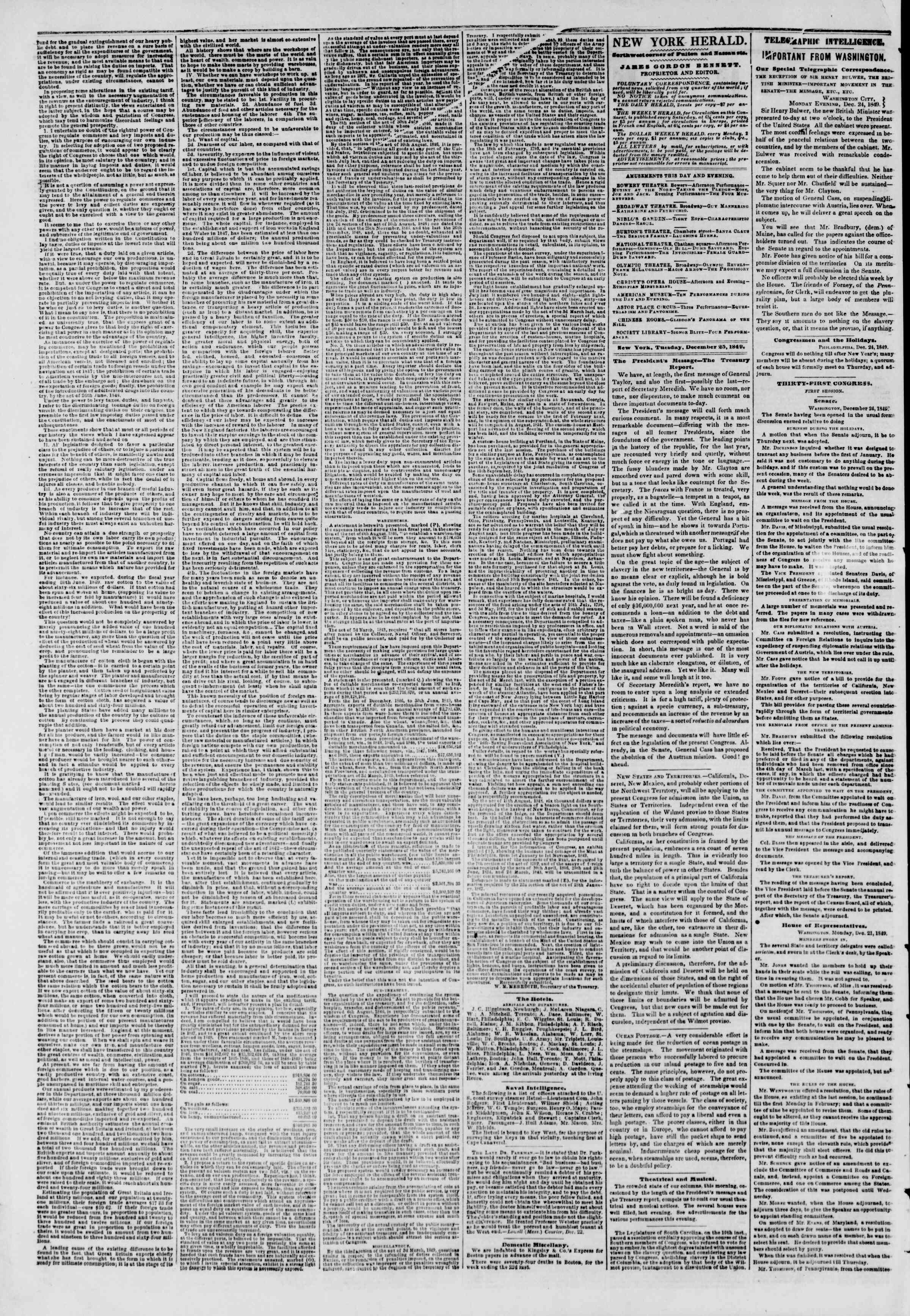 Newspaper of The New York Herald dated December 25, 1849 Page 2