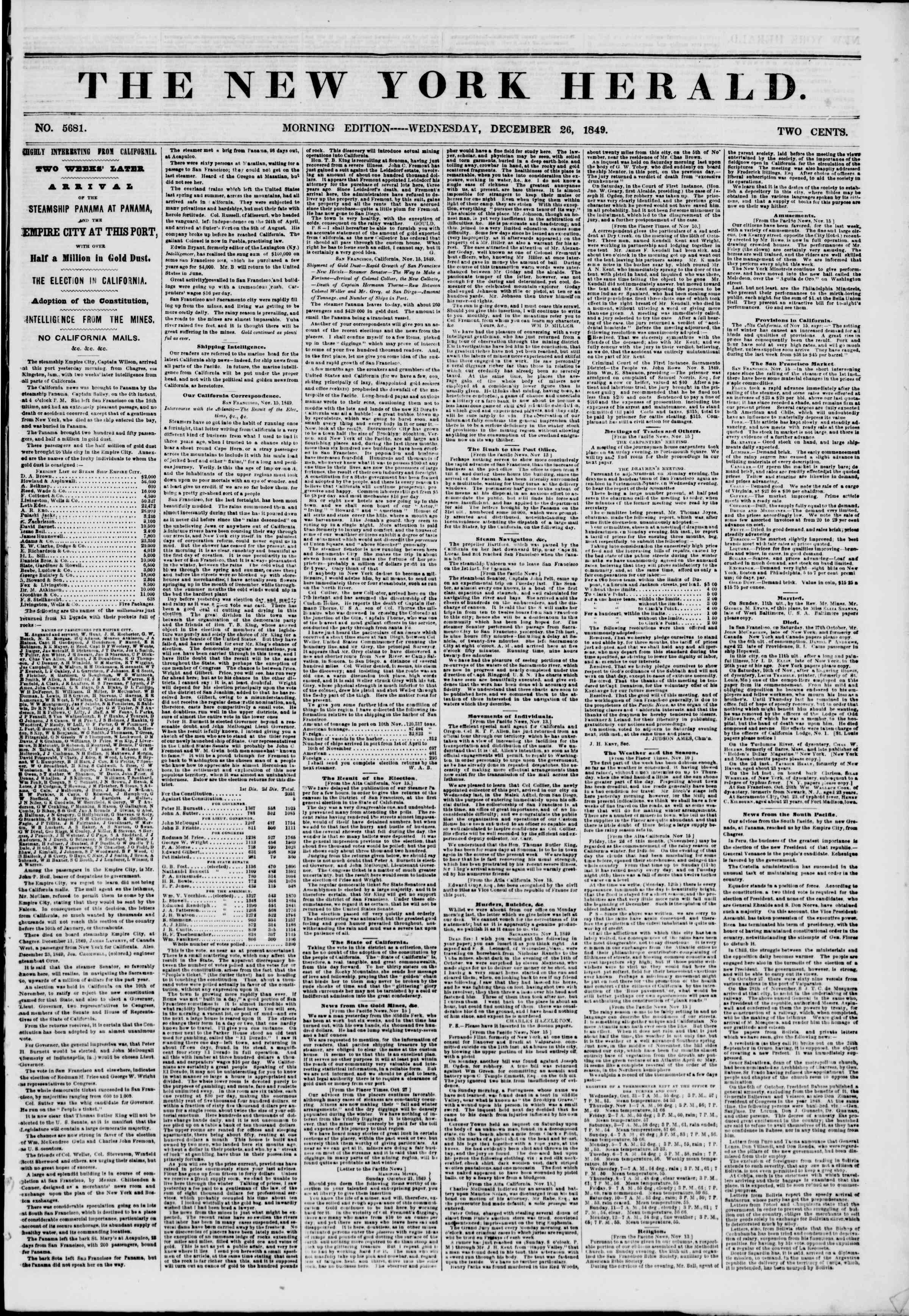 Newspaper of The New York Herald dated December 26, 1849 Page 1