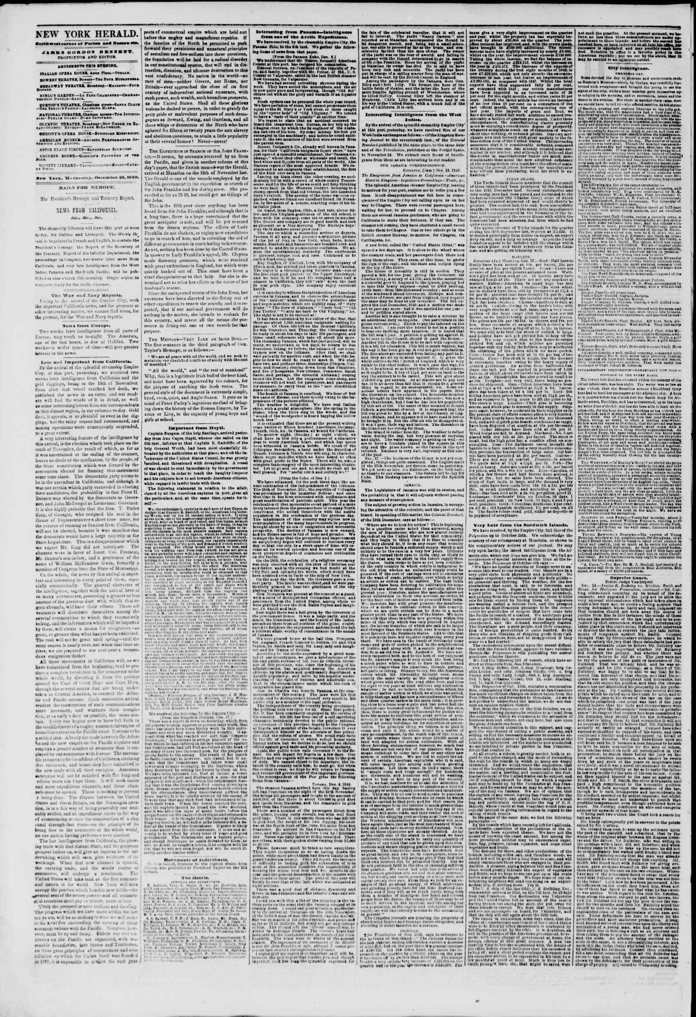 Newspaper of The New York Herald dated December 26, 1849 Page 2