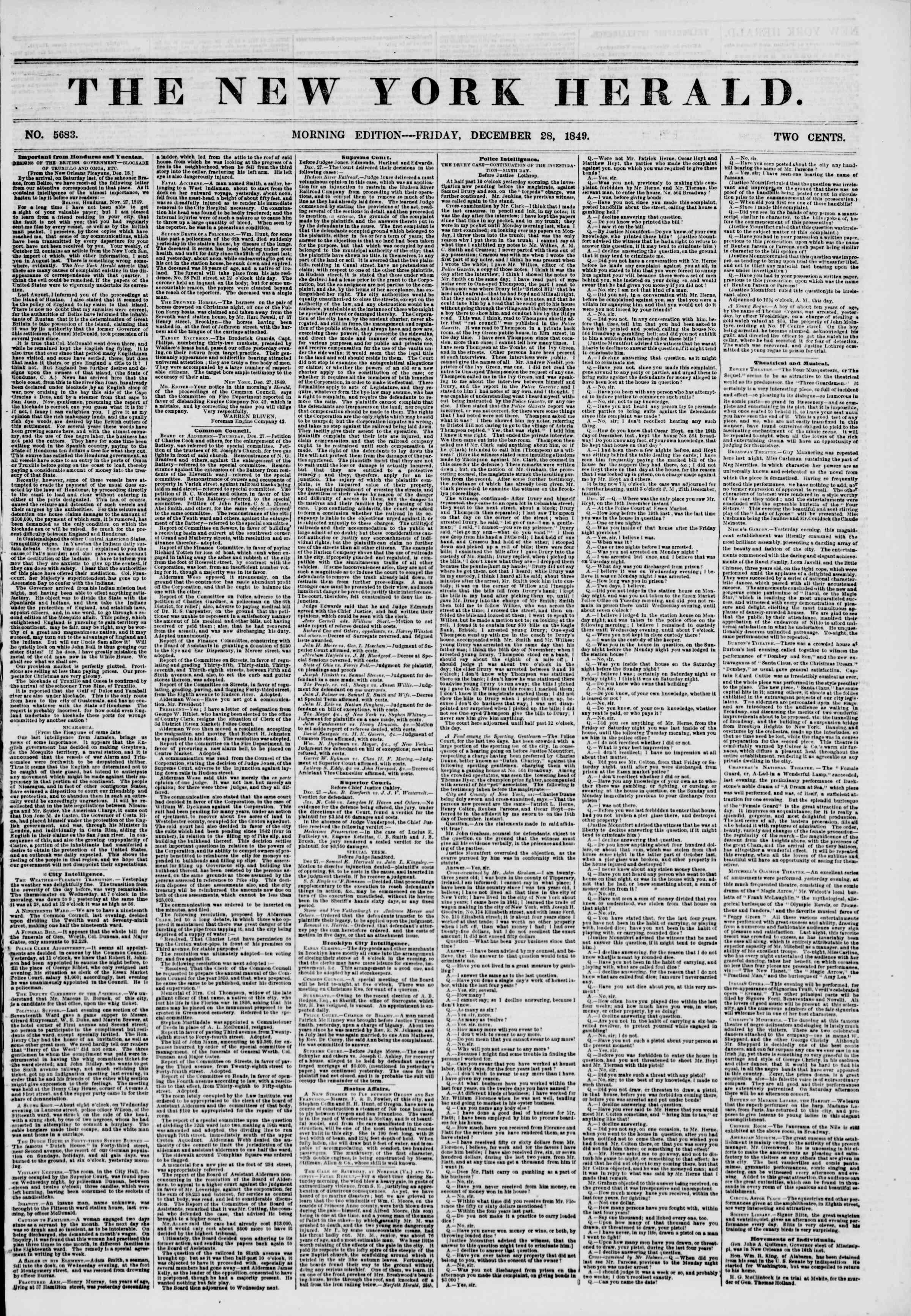 28 Aralık 1849 tarihli The New York Herald Gazetesi Sayfa 1