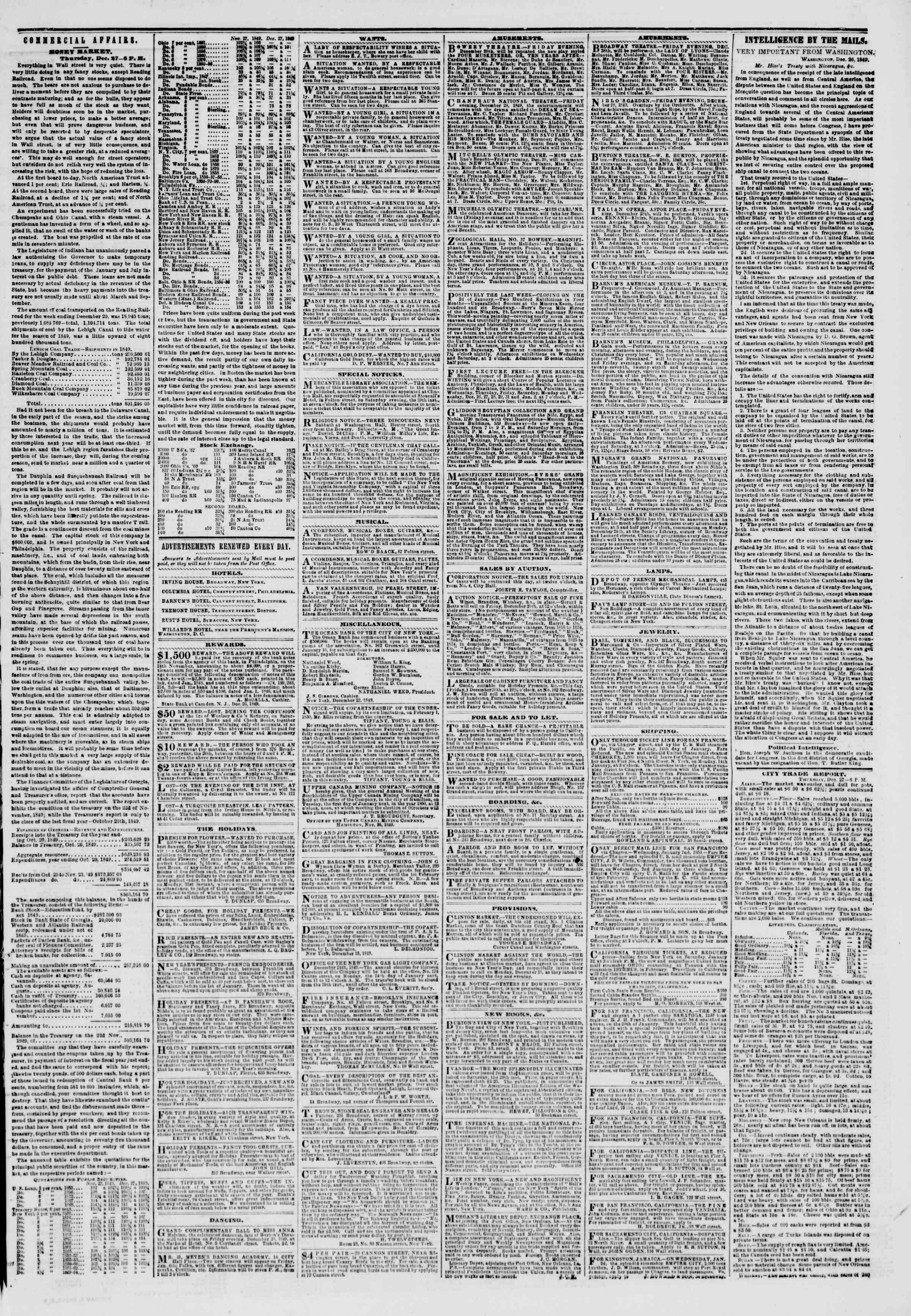 Newspaper of The New York Herald dated December 28, 1849 Page 3