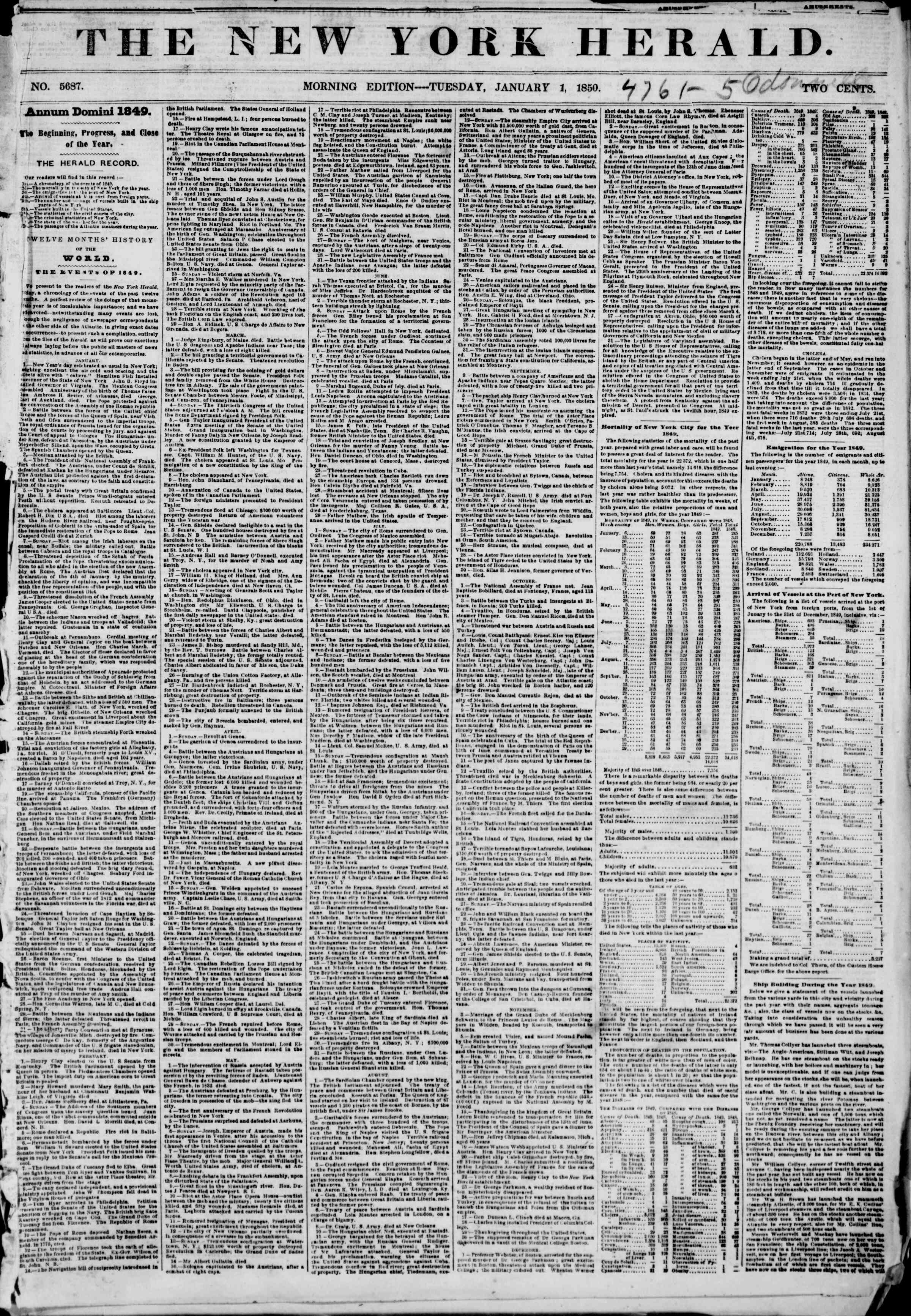 Newspaper of The New York Herald dated January 1, 1850 Page 1