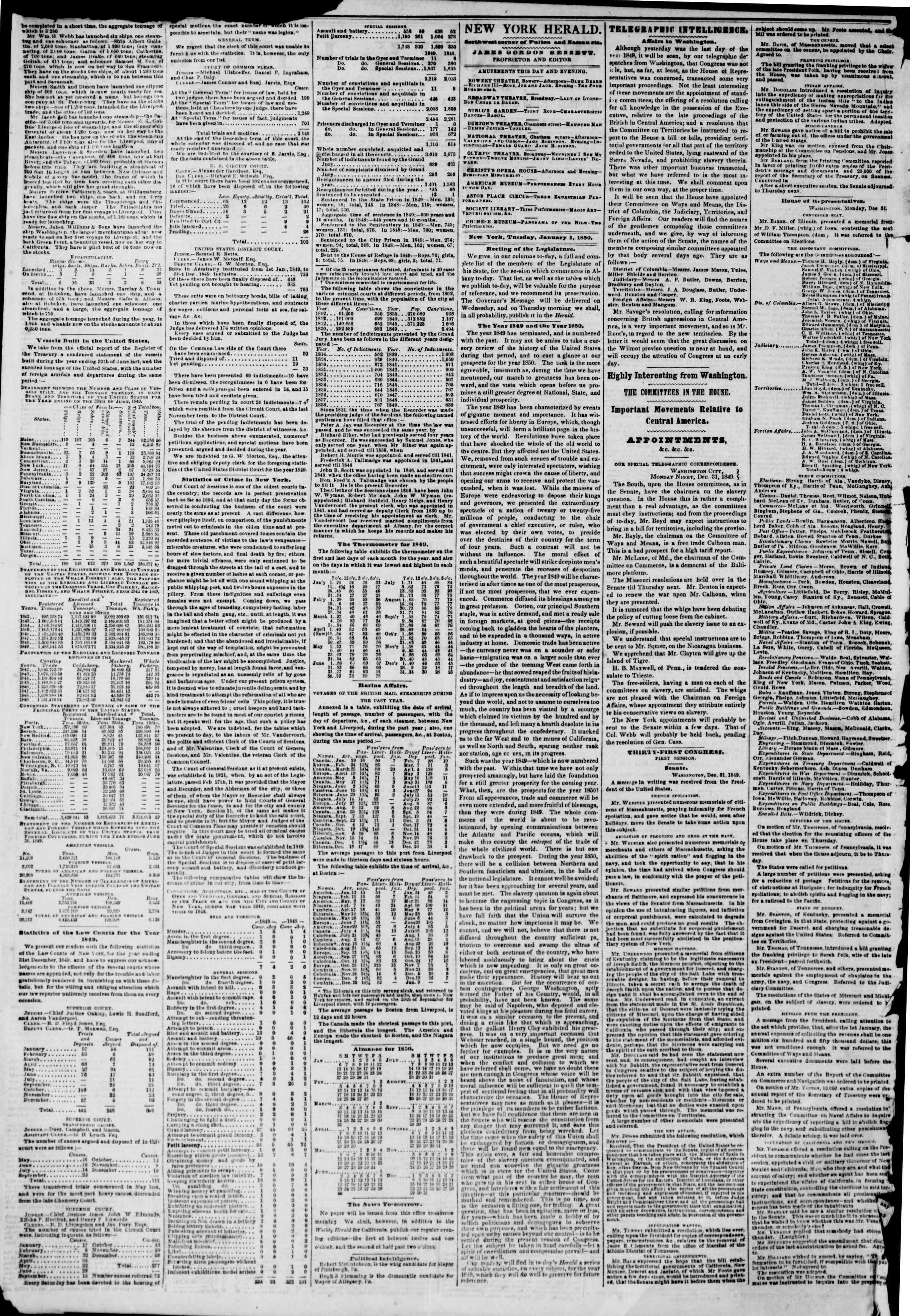 Newspaper of The New York Herald dated January 1, 1850 Page 2