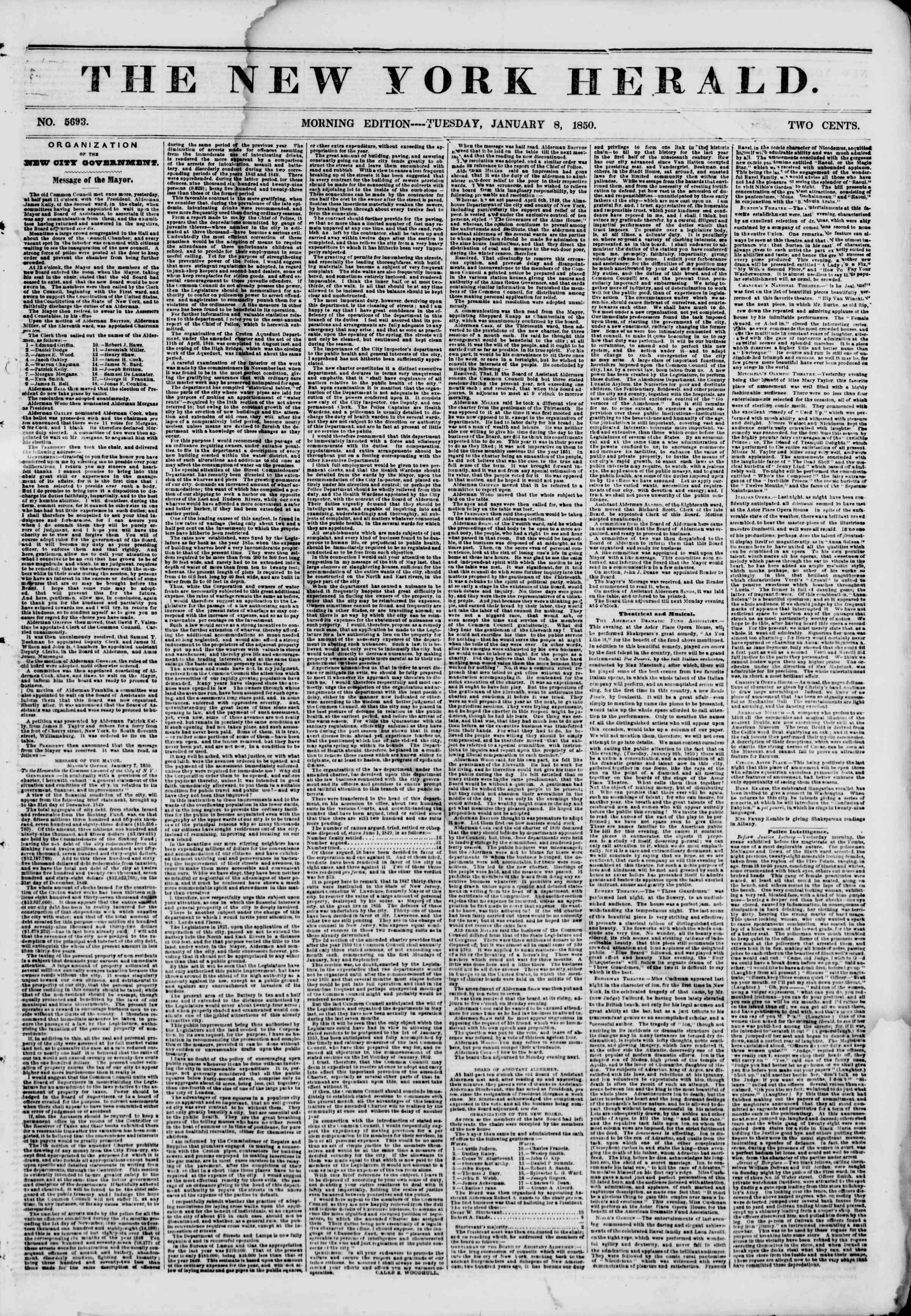 Newspaper of The New York Herald dated January 8, 1850 Page 1