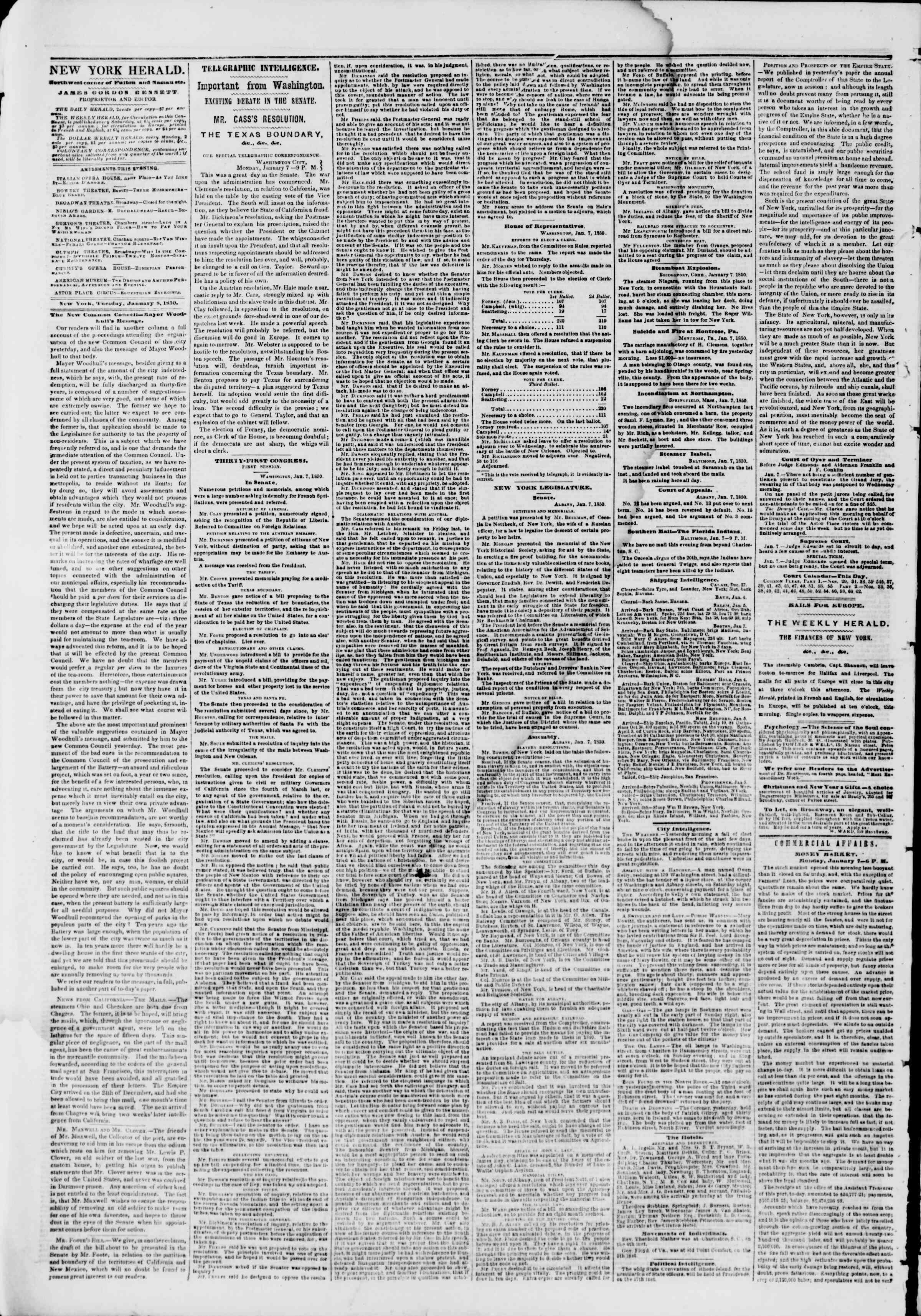 Newspaper of The New York Herald dated January 8, 1850 Page 2